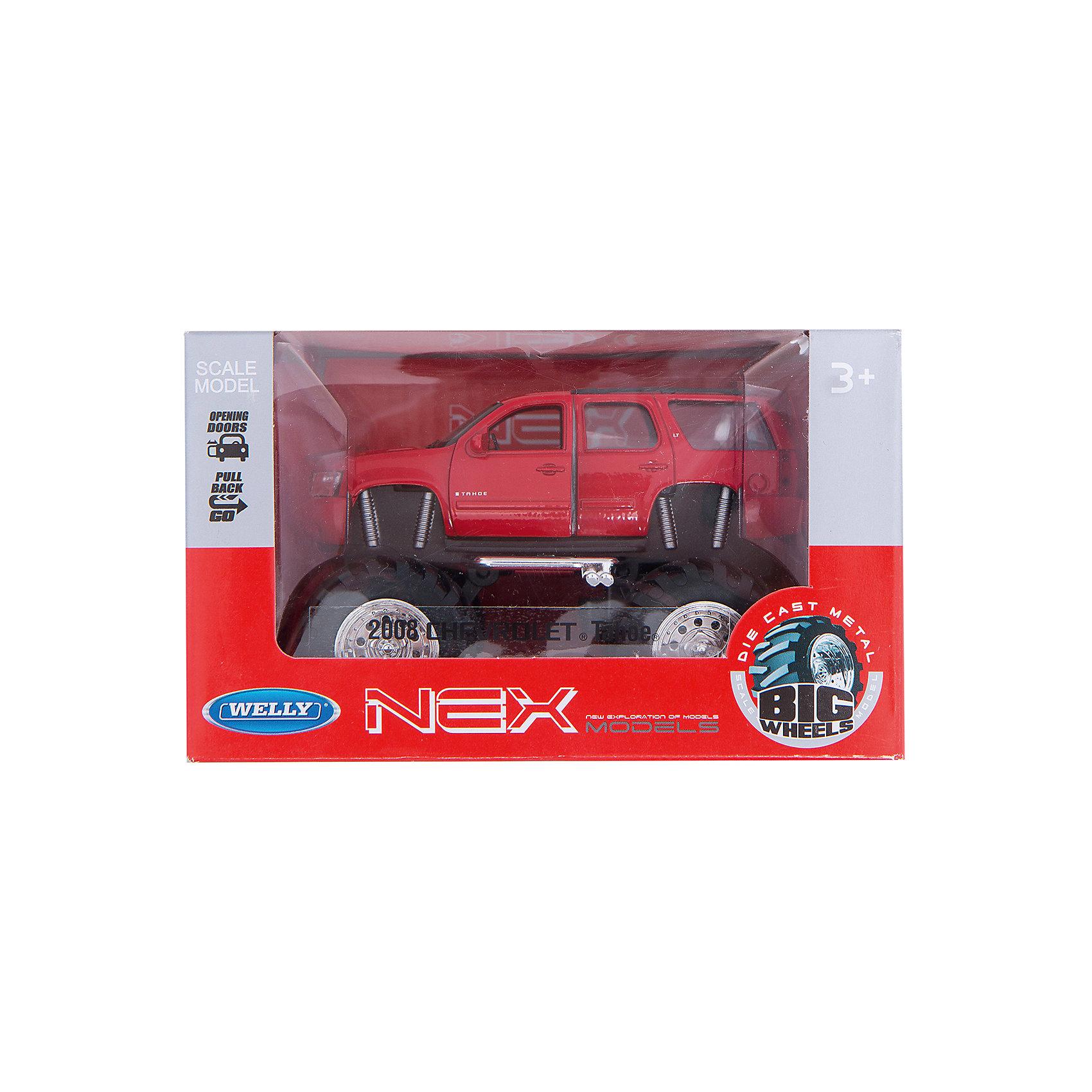 Модель машины 1:34-39 Chevrolet Tahoe Big Wheel, красная, WellyМашинки<br>Характеристики:<br><br>• тип автомобиля: внедорожник;<br>• открываются двери;<br>• прорезиненные колеса;<br>• наличие амортизаторов;<br>• инерционный механизм;<br>• масштаб: 1:34-39;<br>• материал: металл, пластик;<br>• размер упаковки: 15х11х6 см.<br><br>Устроить настоящие гонки на внедорожниках помогут машинки Chevrolet Tahoe Big Wheel. Мощные колеса, инерционный механизм, прочный корпус машинки дают возможность проводить соревнования снова и снова, машинки не бьются и не разбиваются. <br><br>Модель машины 1:34-39 Chevrolet Tahoe Big Wheel, красная, Welly можно купить в нашем магазине.<br><br>Ширина мм: 155<br>Глубина мм: 95<br>Высота мм: 100<br>Вес г: 294<br>Возраст от месяцев: 36<br>Возраст до месяцев: 2147483647<br>Пол: Мужской<br>Возраст: Детский<br>SKU: 5255011