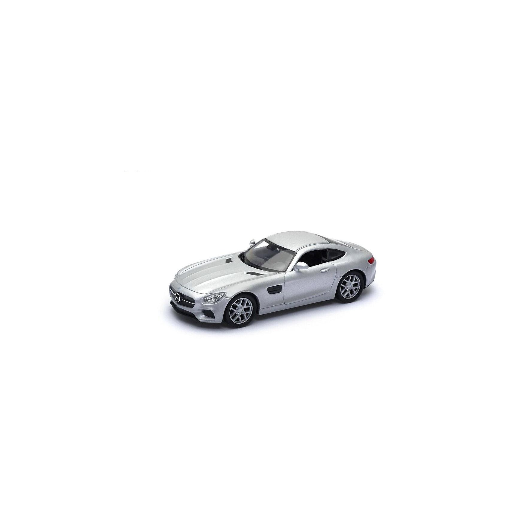 Модель машины 1:34-39 Mercedes-Benz AMG GT, серебрянная, Welly