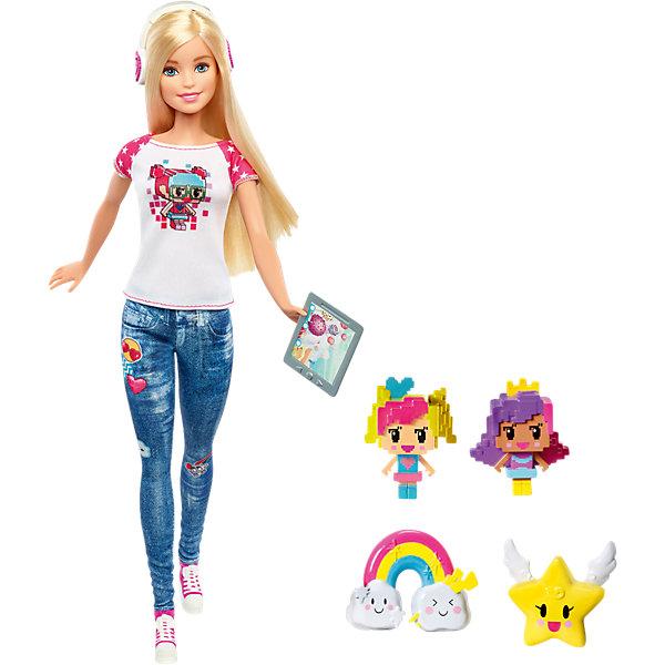 Кукла-геймер из серии «Barbie и виртуальный мир»Barbie<br>Характеристики:<br><br>• возраст: от 3 лет;<br>• материал: пластмасса, текстиль;<br>• в наборе: кукла, гаджет, наушники, аксессуары;<br>• высота куклы: 29 см;<br>• вес упаковки: 305 гр.;<br>• размер упаковки: 32,5х6х23 см;<br>• страна бренда: США.<br><br>Кукла-геймер Barbie не может и минуты без своих гаджетов и видеоигр. Поэтому она всегда носит с собой планшет, наушники, а за ней бегут герои ее виртуального мира.<br><br>Кукла одета в молодежную одежду: джинсы, кеды и футболку. Части тела подвижны. Белокурые волосы можно расчесывать и собирать в разные прически. Игрушка выполнена из качественных безопасных материалов.<br><br>Куклу-геймера из серии «Barbie и виртуальный мир» можно купить в нашем интернет-магазине.<br>Ширина мм: 328; Глубина мм: 230; Высота мм: 63; Вес г: 304; Возраст от месяцев: 36; Возраст до месяцев: 72; Пол: Женский; Возраст: Детский; SKU: 5257086;