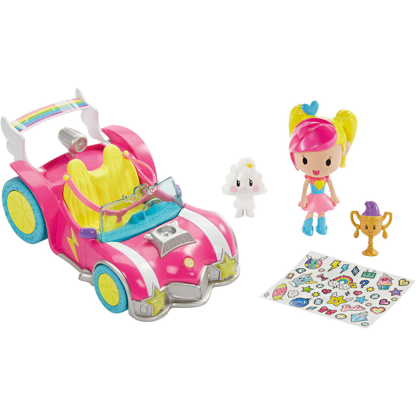 Автомобиль из серии «Barbie и виртуальный мир»Коляски и транспорт для кукол<br>Автомобиль из серии «Barbie и виртуальный мир», (Барби)<br><br>Характеристики:<br><br>• автомобиль можно украсить наклейками (входят в комплект)<br>• набор создан на основе мультфильма Барби и виртуальный мир<br>• в комплекте: кукла, автомобиль, фигурки, наклейки<br>• материал: пластик<br>• размер упаковки: 16х13х36 см<br>• вес: 630 грамм<br><br>Маленькая Барби надела трико, юбочку, сапожки и готова к невероятным приключениям на своем автомобиле! В помощники она выбрала двух персонажей из мультфильма. Остается только украсить транспорт наклейками и мчаться навстречу захватывающему виртуальному миру. Найдите трофей и получите доступ к уникальному дополнению для игры в приложении Barbie Life. <br><br>Автомобиль из серии «Barbie и виртуальный мир», (Барби) вы можете купить в нашем интернет-магазине.<br><br>Ширина мм: 364<br>Глубина мм: 134<br>Высота мм: 167<br>Вес г: 486<br>Возраст от месяцев: 36<br>Возраст до месяцев: 72<br>Пол: Женский<br>Возраст: Детский<br>SKU: 5257091
