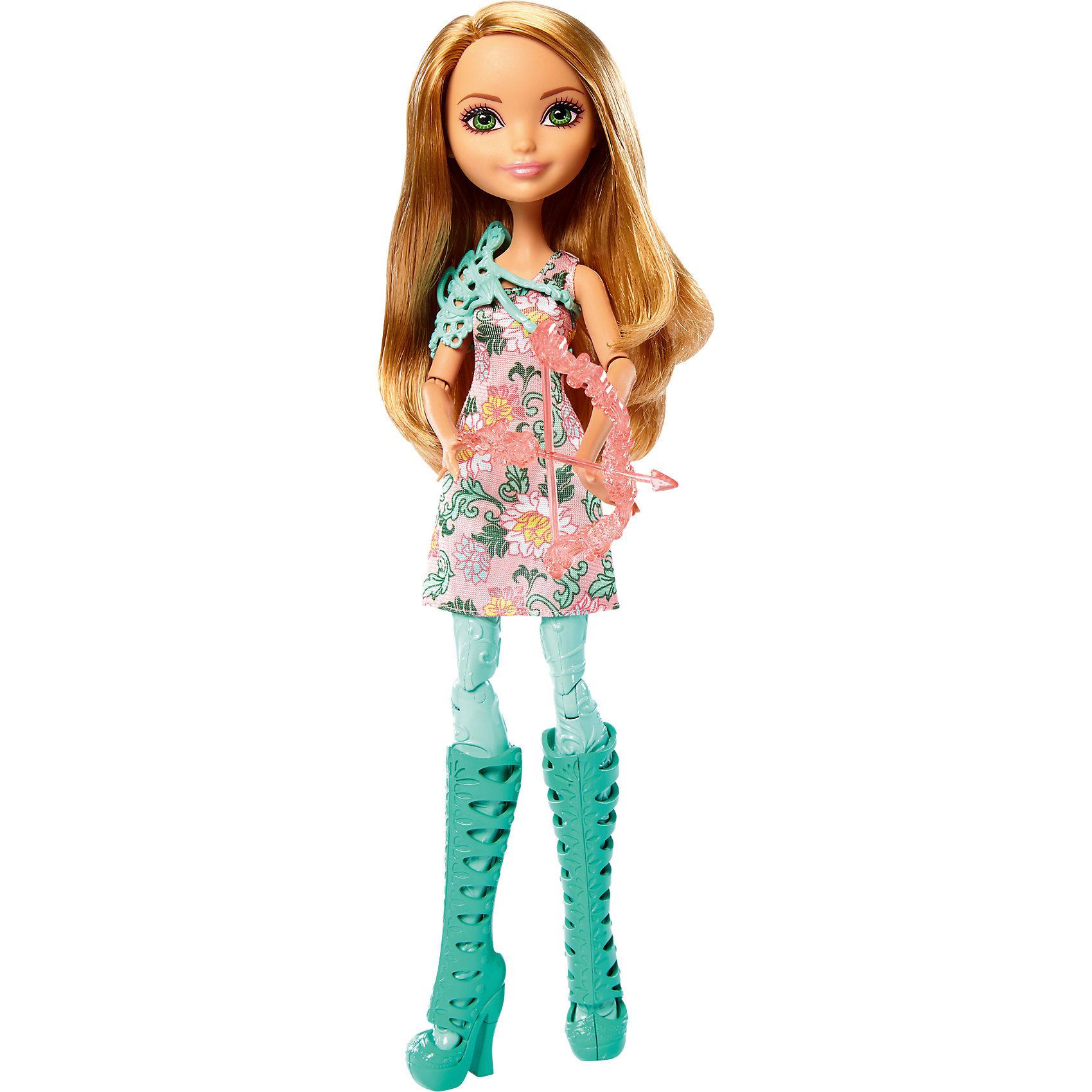 Кукла лучница Эшлин Элла, Ever After HighEver After High<br>Кукла лучница Эшлин Элла, Ever After High.<br><br>Характеристики:<br><br>• В комплекте: кукла-лучница Ever After High в модной одежде, с луком и стрелой<br>• Высота куклы: 26 см.<br>• Материал: пластик<br>• Упаковка: блистер<br>• Размер упаковки: 33x26x5 см.<br><br>Придумывай невероятные сюжеты с куклой лучницей Эшлин Эллой из школы Ever After High, которая решила научиться стрельбе из лука! Кукла держит в руках очаровательный розовый лук со стрелой. Эшлин Элла одета в розовое платье с цветочным узором. <br><br>Дополняют наряд потрясающие высокие бирюзовые ботфорты на высоком каблуке и стильный защитный жилет. Ножки куклы сделаны из пластика бирюзового цвета с фактурой, имитирующей ткань леггинсов. У куклы длинные красивые волосы, большие выразительные глаза и милая улыбка. Руки и ноги подвижны: сгибаются колени, локти и кисти.<br><br>Куклу лучницу Эшлин Эллу, Ever After High можно купить в нашем интернет-магазине.<br><br>Ширина мм: 327<br>Глубина мм: 155<br>Высота мм: 47<br>Вес г: 185<br>Возраст от месяцев: 72<br>Возраст до месяцев: 120<br>Пол: Женский<br>Возраст: Детский<br>SKU: 5257099