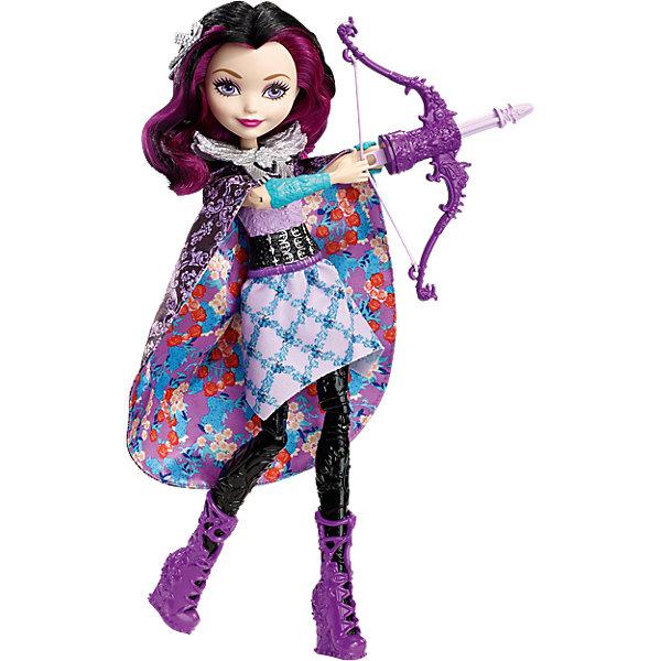 Волшебная лучница Рэйвен Квин, Ever After HighБренды кукол<br>Волшебная лучница Рэйвен Квин, Ever After High (Эвер Афтер Хай)<br><br>Характеристики:<br><br>• кукла по-настоящему стреляет из лука<br>• юбку можно использовать как накидку на плечи<br>• в комплекте: кукла, лук, стрелы<br>• материал: пластик, текстиль<br>• высота куклы: 26 см<br>• размер упаковки: 33х23х6,5 см<br>• вес: 260 грамм<br><br>Рэйвен Квин очень любит стрелять из своего лука. Он выглядит совсем как настоящий, да и стреляет тоже по-настоящему. Для этого нужно поставить руку куклы в специальное отверстие и нажать кнопку на спине. Для стрельбы Рэйвен выбрала стильный и удобный наряд. Кукла одета в топ, юбку и сапожки фиолетового цвета. Длинная юбка с цветочным узором с легкостью превращается в черную накидку на плечи. В таком образе Рэйвен обязательно поразит все мишени!<br><br>Волшебную лучницу Рэйвен Квин, Ever After High (Эвер Афтер Хай) вы можете купить в нашем интернет-магазине.<br>Ширина мм: 328; Глубина мм: 230; Высота мм: 63; Вес г: 257; Возраст от месяцев: 72; Возраст до месяцев: 120; Пол: Женский; Возраст: Детский; SKU: 5257102;