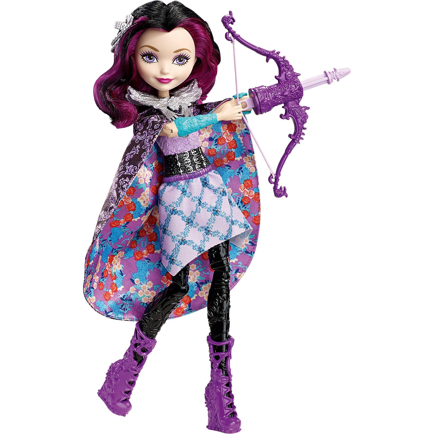 Волшебная лучница Рэйвен Квин, Ever After HighEver After High<br>Волшебная лучница Рэйвен Квин, Ever After High (Эвер Афтер Хай)<br><br>Характеристики:<br><br>• кукла по-настоящему стреляет из лука<br>• юбку можно использовать как накидку на плечи<br>• в комплекте: кукла, лук, стрелы<br>• материал: пластик, текстиль<br>• высота куклы: 26 см<br>• размер упаковки: 33х23х6,5 см<br>• вес: 260 грамм<br><br>Рэйвен Квин очень любит стрелять из своего лука. Он выглядит совсем как настоящий, да и стреляет тоже по-настоящему. Для этого нужно поставить руку куклы в специальное отверстие и нажать кнопку на спине. Для стрельбы Рэйвен выбрала стильный и удобный наряд. Кукла одета в топ, юбку и сапожки фиолетового цвета. Длинная юбка с цветочным узором с легкостью превращается в черную накидку на плечи. В таком образе Рэйвен обязательно поразит все мишени!<br><br>Волшебную лучницу Рэйвен Квин, Ever After High (Эвер Афтер Хай) вы можете купить в нашем интернет-магазине.<br><br>Ширина мм: 328<br>Глубина мм: 230<br>Высота мм: 63<br>Вес г: 257<br>Возраст от месяцев: 72<br>Возраст до месяцев: 120<br>Пол: Женский<br>Возраст: Детский<br>SKU: 5257102