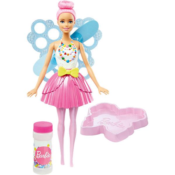 Фея с волшебными пузырьками, Barbie, 29 смКуклы<br>Характеристики товара:<br><br>• комплектация: кукла, контейнер для жидкости, раствор для мыльных пузырей<br>• материал: пластик<br>• серия: Barbie™ Dreamtopia «Сладкое Королевство»<br>• высота куклы: 28 см<br>• возраст: от трех лет<br>• размер упаковки: 33х12х5 см<br>• вес: 0,3 кг<br>• страна бренда: США<br><br>Эта красивая кукла Барби порадует маленьких любительниц мыльных пузырей! Чтобы начать с ней играть, необходимо просто налить раствор из бутылочки, окунуть в него крылья куклы и потянуть за ленточку на её поясе - появятся волшебные пузыри! Барби из серии Сладкое Королевство станет великолепным подарком для девочек. Кукла одета в яркий наряд.<br><br>Куклы - это не только весело, они помогают девочкам развить вкус и чувство стиля, отработать сценарии поведения в обществе, развить воображение и мелкую моторику. Кукла от бренда Mattel не перестает быть популярной! <br><br>Куклу Фея с волшебными пузырьками от компании Mattel можно купить в нашем интернет-магазине.<br><br>Ширина мм: 328<br>Глубина мм: 226<br>Высота мм: 88<br>Вес г: 440<br>Возраст от месяцев: 36<br>Возраст до месяцев: 72<br>Пол: Женский<br>Возраст: Детский<br>SKU: 5257103