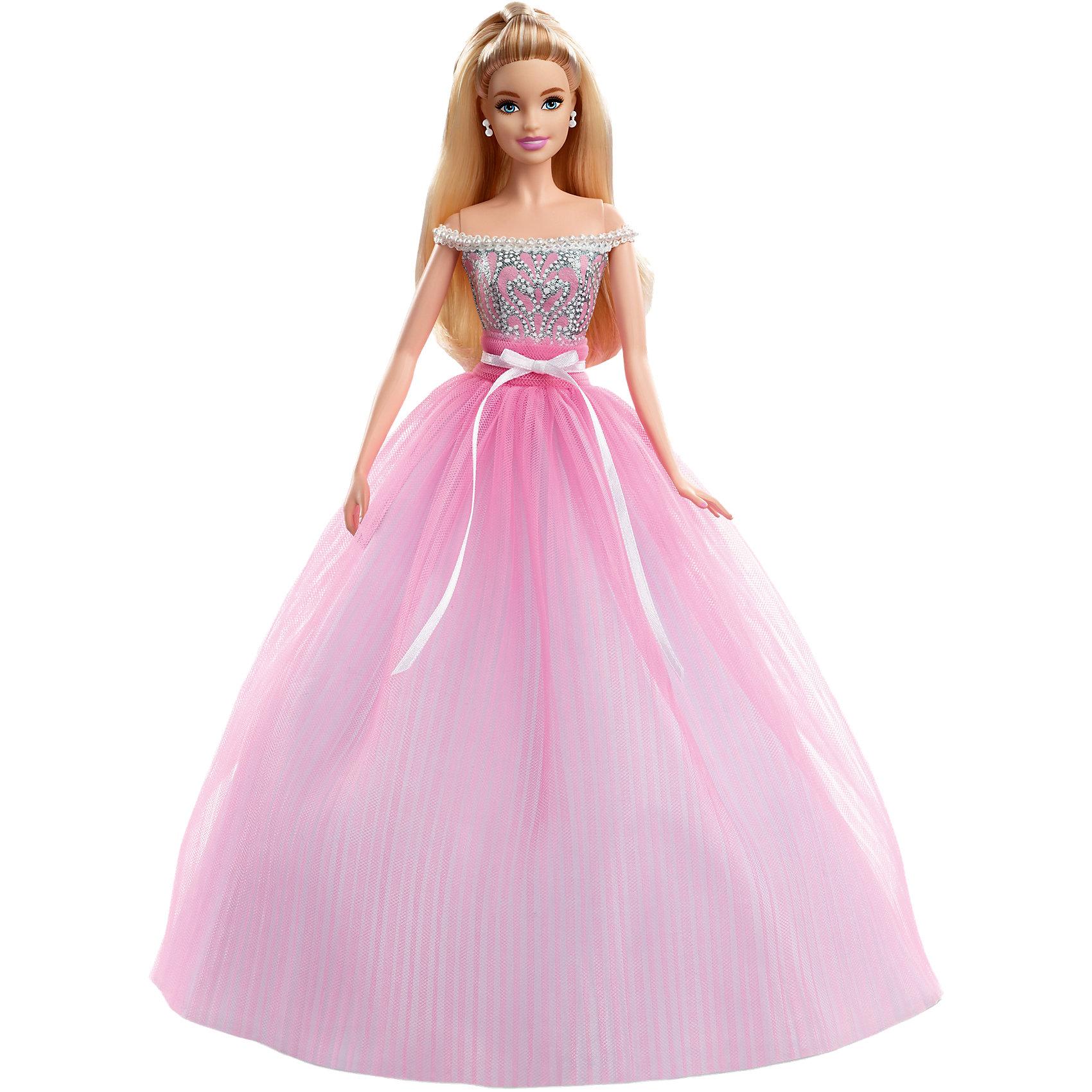 Коллекционная кукла «Пожелания ко дню рождения», BarbieПопулярные игрушки<br>Характеристики товара:<br><br>• комплектация: игрушка, упаковка <br>• материал: пластик, текстиль<br>• серия: Barbie<br>• возраст: от трех лет<br>• для девочек<br>• подвижные суставы<br>• габариты игрушки: 33х7,5х23 см<br>• срок годности: не ограничен<br>• страна бренда: США<br><br>Коллекционная кукла Барби – самый желанный подарок всех модник ко Дню рождения. Кукла одета в безупречное красивое розовое платье и оформлена в праздничную коробку, которую уже не нужно украшать. Стоит отметить, что все товары, выпускаемые компанией Mattel, полностью безопасны и соответствуют международным  требованиям по качеству материалов. <br><br>Товар «Коллекционная кукла «Пожелания ко дню рождения», Barbie» можно приобрести в нашем интернет-магазине.<br><br>Ширина мм: 341<br>Глубина мм: 222<br>Высота мм: 83<br>Вес г: 388<br>Возраст от месяцев: 96<br>Возраст до месяцев: 144<br>Пол: Женский<br>Возраст: Детский<br>SKU: 5257106