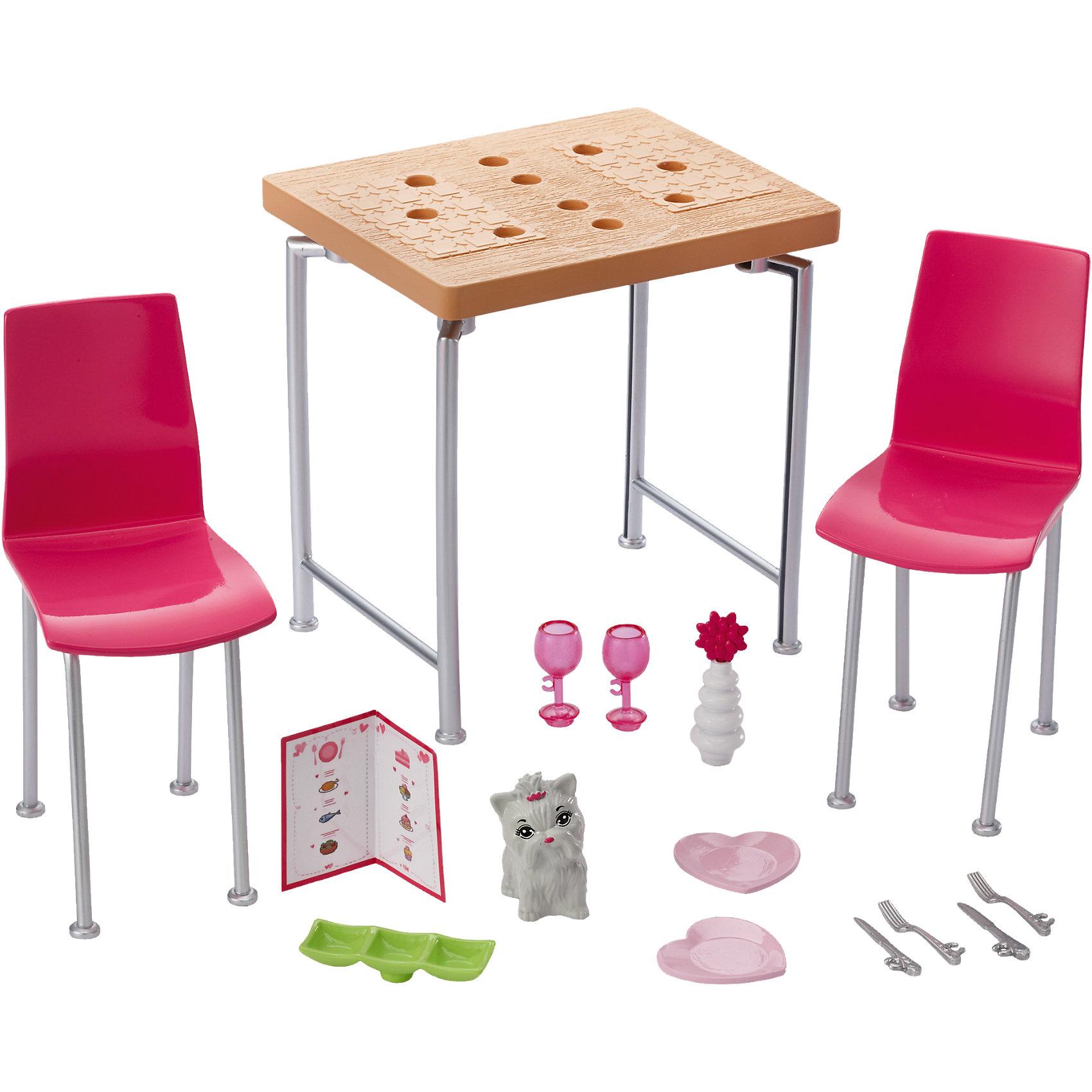 Набор мебели Обеденный стол из серии Отдых дома, BarbieМебель для кукол<br>Набор мебели Обеденный стол из серии Отдых дома, Barbie.<br><br>Характеристики:<br><br>• В наборе: 2 стула, фигурка собаки, стол, меню, ваза, 2 вилки, 2 ножа, 2 тарелки в форме сердечек, 2 фужера, аксессуар<br>• Высота стола: 14 см.<br>• Материал: пластик<br>• Упаковка: блистер<br>• Размер упаковки: 20х9х27 см.<br><br>Проведите спокойный вечер дома с набором мебели Barbie. Кукла Barbie (продается отдельно) может насладиться великолепной трапезой за обеденным столом с двумя стульями. Ножки у мебели сделаны из пластика серебристого цвета с имитацией под металл, а сидения стульев ярко-розового цвета - самого любимого у Барби. На столе можно расположить аксессуары: тарелки в форме сердечек, вилки, ножи, вазу, фужеры и меню. <br><br>Также в наборе есть фигурка домашнего питомца - маленькой белой собачки с розовым бантиком. Все элементы наборы выполнены из прочного и безопасного для ребенка пластика. Собери всю превосходную мебель и аксессуары, чтобы создать полноценный интерьер для своей куклы Barbie.<br><br>Набор мебели Обеденный стол из серии Отдых дома, Barbie можно купить в нашем интернет-магазине.<br><br>Ширина мм: 271<br>Глубина мм: 192<br>Высота мм: 88<br>Вес г: 255<br>Возраст от месяцев: 36<br>Возраст до месяцев: 72<br>Пол: Женский<br>Возраст: Детский<br>SKU: 5257110