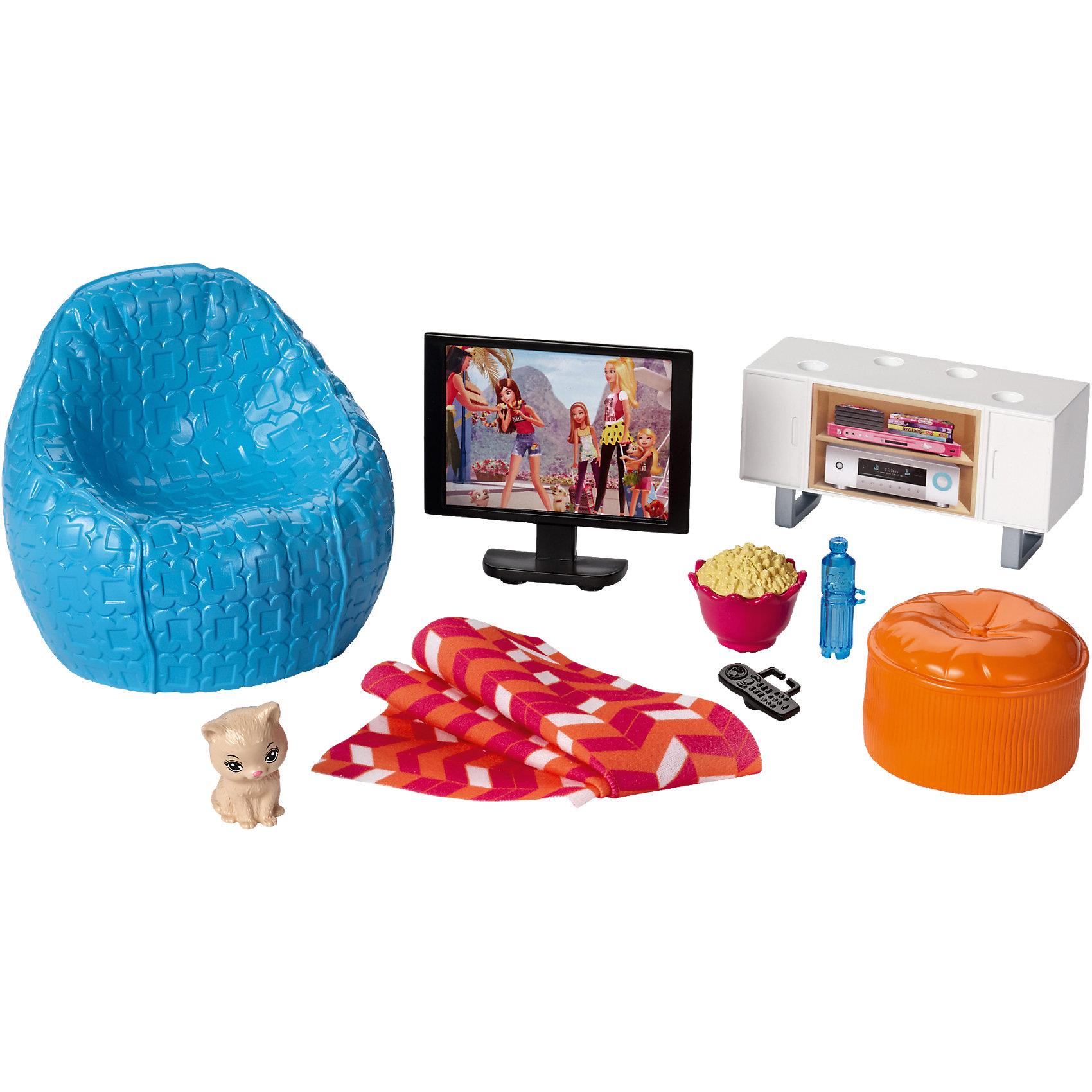 Набор мебели Вечер у телевизора из серии Отдых дома, BarbieДомики и мебель<br>Набор мебели Вечер у телевизора из серии Отдых дома, Barbie.<br><br>Характеристики:<br><br>• В наборе: телевизор с пультом, тумба для телевизора, кресло с пледом, пуфик, фигурка котенка, попкорн, бутылка для воды<br>• Высота фигурки котенка: 3,5 см.<br>• Высота телевизора: 7 см.<br>• Высота кресла: 11 см.<br>• Материал: пластик, текстиль<br>• Упаковка: блистер<br>• Размер упаковки: 20х9х27 см.<br><br>Проведи спокойный вечер дома с набором мебели Barbie. Кукла Barbie (продается отдельно) может посмотреть любимый фильм по телевизору, сидя на кресле с ведерком попкорна, пледом и пультом, или поиграть со своим домашним любимцем. Все элементы наборы выполнены из прочного и безопасного для ребенка пластика. Собери всю превосходную мебель и аксессуары, чтобы создать полноценный интерьер для своей куклы Barbie.<br><br>Набор мебели Вечер у телевизора из серии Отдых дома, Barbie можно купить в нашем интернет-магазине.<br><br>Ширина мм: 272<br>Глубина мм: 192<br>Высота мм: 91<br>Вес г: 280<br>Возраст от месяцев: 36<br>Возраст до месяцев: 72<br>Пол: Женский<br>Возраст: Детский<br>SKU: 5257111