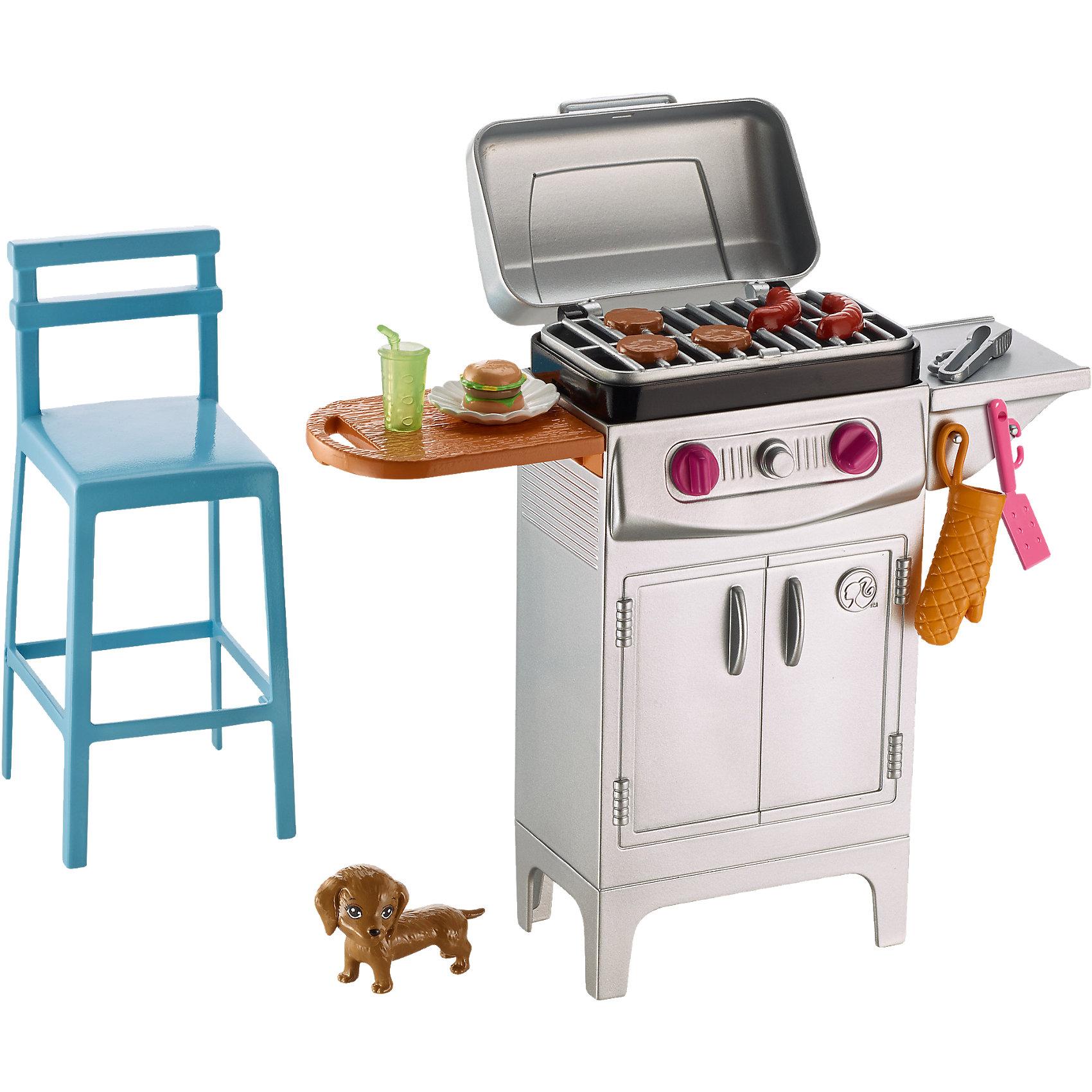 Набор мебели Гриль и стул из серии Отдых на природе, BarbieДомики и мебель<br>Характеристики товара:<br><br>• комплектация: гриль с посудой и продуктами, стул, питомец<br>• материал: пластик<br>• серия: Barbie™ Отдых на природе<br>• кукла продается отдельно<br>• упаковка: блистер<br>• возраст: от трех лет<br>• страна производства: Китай<br>• страна бренда: США<br><br>Этот симпатичный набор мебели поможет разнообразить игры с любимой куклой! В него входят вещи для организации кукле комфортного отдыха на природе в компании с любимым питомцем. Этот комплект мебели станет великолепным подарком для девочек!<br><br>Куклы - это не только весело, они помогают девочкам развить вкус и чувство стиля, отработать сценарии поведения в обществе, развить воображение и мелкую моторику. Кукла Barbie от бренда Mattel не перестает быть популярной! <br><br>Набор мебели Гриль и стул из серии Отдых на природе от компании Mattel можно купить в нашем интернет-магазине.<br><br>Ширина мм: 273<br>Глубина мм: 192<br>Высота мм: 86<br>Вес г: 284<br>Возраст от месяцев: 36<br>Возраст до месяцев: 72<br>Пол: Женский<br>Возраст: Детский<br>SKU: 5257113