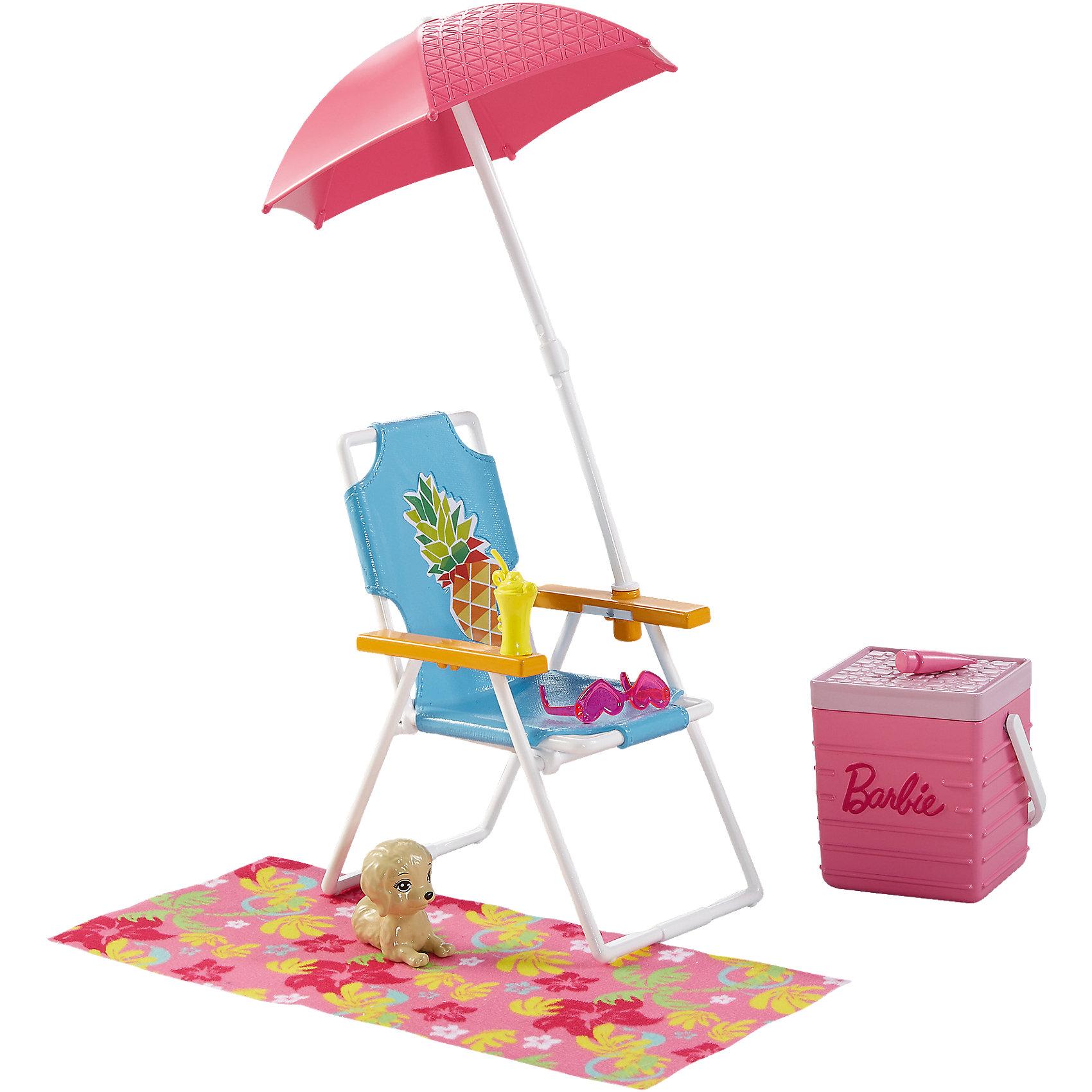 Набор мебели Пляжный шезлонг и вентилятор из серии Отдых на природе, BarbieХарактеристики товара:<br><br>• комплектация: пляжный шезлонг, зонт, корзина для напитков, аксессуары, питомец<br>• материал: пластик<br>• серия: Barbie™ Отдых на природе<br>• кукла продается отдельно<br>• упаковка: блистер<br>• возраст: от трех лет<br>• страна производства: Китай<br>• страна бренда: США<br><br>Этот симпатичный набор мебели поможет разнообразить игры с любимой куклой! В него входят вещи для организации кукле комфортного отдыха на природе в компании с любимым питомцем. Этот комплект мебели станет великолепным подарком для девочек!<br><br>Куклы - это не только весело, они помогают девочкам развить вкус и чувство стиля, отработать сценарии поведения в обществе, развить воображение и мелкую моторику. Кукла Barbie от бренда Mattel не перестает быть популярной! <br><br>Набор мебели Пляжный шезлонг и вентилятор из серии Отдых на природе от компании Mattel можно купить в нашем интернет-магазине.<br><br>Ширина мм: 270<br>Глубина мм: 192<br>Высота мм: 96<br>Вес г: 228<br>Возраст от месяцев: 36<br>Возраст до месяцев: 72<br>Пол: Женский<br>Возраст: Детский<br>SKU: 5257114