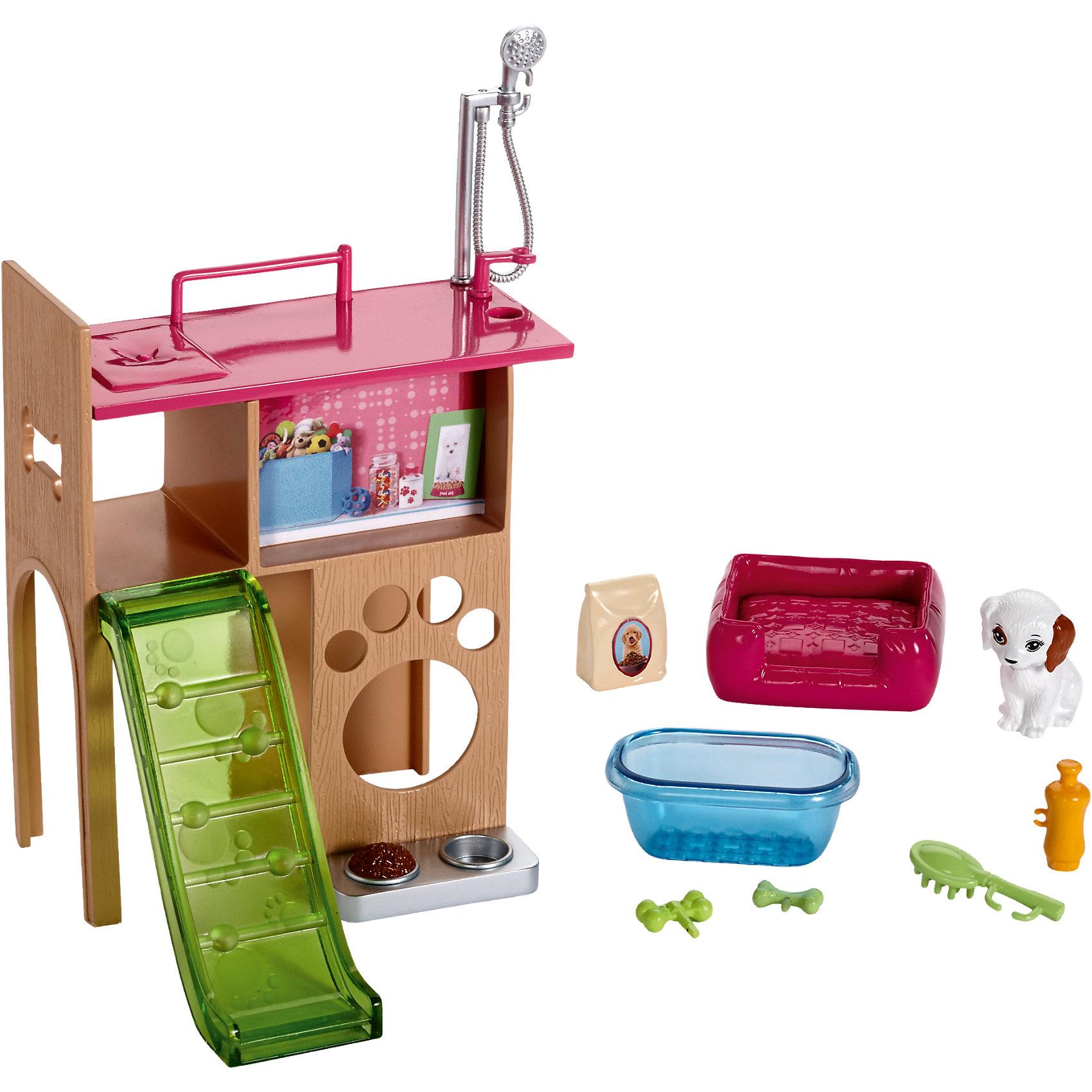 Набор мебели Уголок домашнего питомца из серии Отдых дома, Barbie<br><br>Ширина мм: 277<br>Глубина мм: 195<br>Высота мм: 88<br>Вес г: 305<br>Возраст от месяцев: 36<br>Возраст до месяцев: 72<br>Пол: Женский<br>Возраст: Детский<br>SKU: 5257115