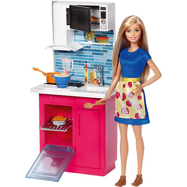 Набор мебели с куклой Кухня, BarbieПопулярные игрушки<br>Характеристики товара:<br><br>• возраст: от 3 лет;<br>• материал: пластик;<br>• в комплекте: кукла, аксессуары;<br>• высота куклы: 30 см;<br>• размер упаковки: 33х29х9 см;<br>• вес упаковки: 500 гр.;<br>• страна производитель: Китай.<br><br>Набор мебели с куклой «Кухня» Barbie станет отличным подарком для девочки и дополнит ее коллекцию любимых куколок Барби. В наборе кухонный гарнитур, у которого открываются дверца шкафа и дверца микроволновой печи. У куклы подвижные руки и ноги, мягкие длинные волосы, которые можно расчесывать и завязывать.<br><br>Набор мебели с куклой «Кухня» Barbie можно приобрести в нашем интернет-магазине.<br>Ширина мм: 331; Глубина мм: 284; Высота мм: 93; Вес г: 638; Возраст от месяцев: 36; Возраст до месяцев: 72; Пол: Женский; Возраст: Детский; SKU: 5257118;
