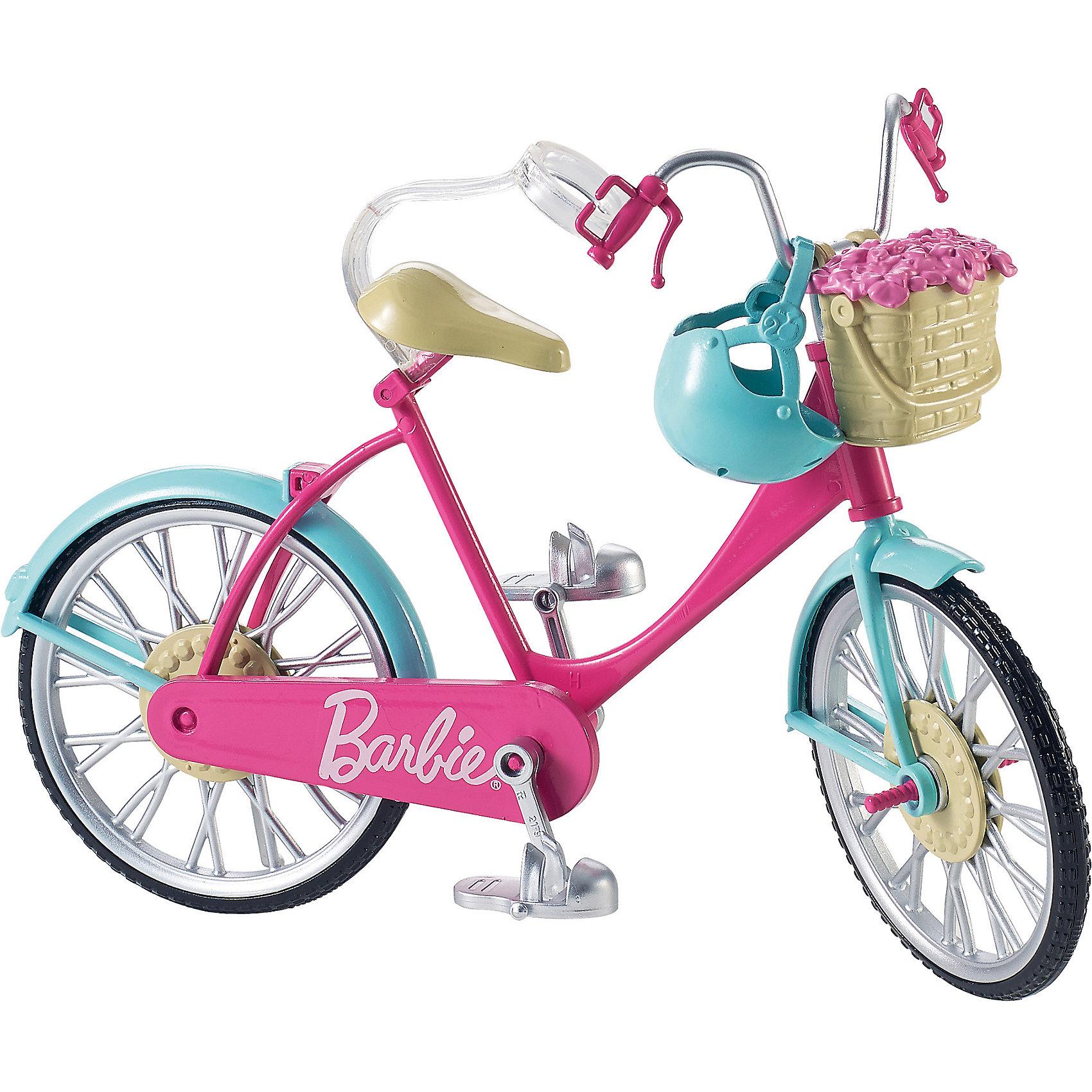 Велосипед, BarbieBarbie<br>Велосипед, Barbie (Барби)<br><br>Характеристики:<br><br>• у велосипеда крутятся педали и колеса<br>• корзину можно заполнить цветами (входят в комплект) или другими полезными предметами<br>• специальная застежка удерживает куклу на сидении<br>• кукла в комплект не входит<br>• в комплекте: велосипед, шлем, корзина с цветами<br>• материал: пластик<br>• длина велосипеда: 28 см<br>• размер упаковки: 30,5х23х7 см<br>• вес: 220 грамм<br><br>Стильный велосипед создан специально для самых активных кукол Барби. Он имеет очень приятную розовую расцветку, дополненную серебристыми деталями. Педали и колеса велосипеда крутятся, придавая игре реалистичности. Посадите куклу на сидение, закрепите застежку и наблюдайте как быстро Барби катается по дороге! И, конечно же, не стоит забывать о безопасности. В комплект входит шлем, защищающий голову куклы при падениях. Спереди велосипед дополнен корзиной с букетом цветов. Вы сможете достать цветы, чтобы положить туда необходимые предметы.<br><br>Велосипед, Barbie (Барби) можно купить в нашем интернет-магазине.<br><br>Ширина мм: 305<br>Глубина мм: 231<br>Высота мм: 76<br>Вес г: 219<br>Возраст от месяцев: 36<br>Возраст до месяцев: 72<br>Пол: Женский<br>Возраст: Детский<br>SKU: 5257119