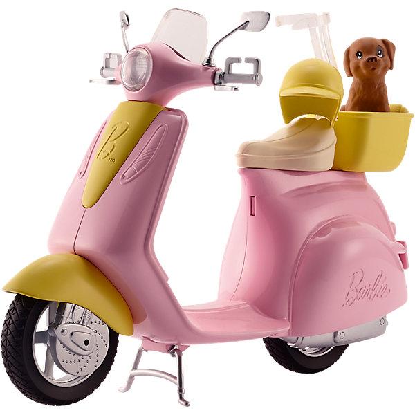 Мопед, BarbieТранспорт и коляски для кукол<br>Мопед, Barbie (Барби)<br><br>Характеристики:<br><br>• ножка опора поднимается перед увлекательной поездкой<br>• специальная застежка удерживает куклу на сидении<br>• кукла в комплект не входит<br>• в комплекте: мопед, шлем, щенок<br>• материал: пластик<br>• длина велосипеда: 29 см<br>• размер упаковки: 32х25х10 см<br>• вес: 475 грамм<br><br>Наверняка ваша кукла Барби очень любит путешествовать. Совершите увлекательную поездку на мопеде в компании милого щеночка. Специально для него предусмотрена уютная корзина, в которой он сможет даже поспать. Мопед выполнен в розовом стиле с желтыми вставками. Специальная застежка надежно зафиксирует куклу на сидении, не позволяя ей упасть во время поездки. На случай падения также предусмотрен шлем, защищающий голову от травм. Поднимите ножку-опору и Барби быстро помчится навстречу новым приключениям!<br><br>Мопед, Barbie (Барби) можно купить в нашем интернет-магазине.<br><br>Ширина мм: 322<br>Глубина мм: 251<br>Высота мм: 104<br>Вес г: 524<br>Возраст от месяцев: 36<br>Возраст до месяцев: 72<br>Пол: Женский<br>Возраст: Детский<br>SKU: 5257120
