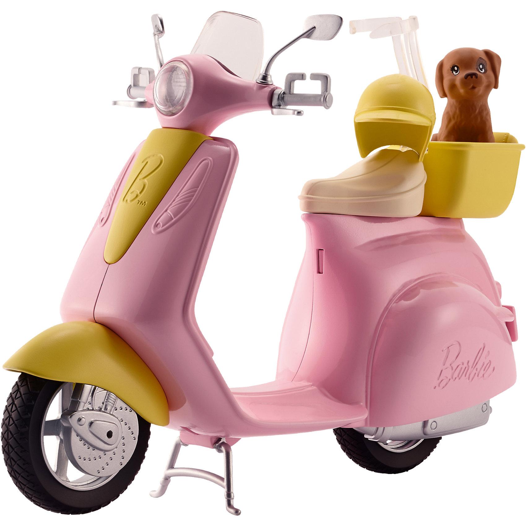 Мопед, BarbieМопед, Barbie (Барби)<br><br>Характеристики:<br><br>• ножка опора поднимается перед увлекательной поездкой<br>• специальная застежка удерживает куклу на сидении<br>• кукла в комплект не входит<br>• в комплекте: мопед, шлем, щенок<br>• материал: пластик<br>• длина велосипеда: 29 см<br>• размер упаковки: 32х25х10 см<br>• вес: 475 грамм<br><br>Наверняка ваша кукла Барби очень любит путешествовать. Совершите увлекательную поездку на мопеде в компании милого щеночка. Специально для него предусмотрена уютная корзина, в которой он сможет даже поспать. Мопед выполнен в розовом стиле с желтыми вставками. Специальная застежка надежно зафиксирует куклу на сидении, не позволяя ей упасть во время поездки. На случай падения также предусмотрен шлем, защищающий голову от травм. Поднимите ножку-опору и Барби быстро помчится навстречу новым приключениям!<br><br>Мопед, Barbie (Барби) можно купить в нашем интернет-магазине.<br><br>Ширина мм: 322<br>Глубина мм: 251<br>Высота мм: 104<br>Вес г: 524<br>Возраст от месяцев: 36<br>Возраст до месяцев: 72<br>Пол: Женский<br>Возраст: Детский<br>SKU: 5257120