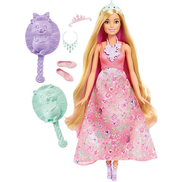 Принцесса с волшебными волосами, BarbieКуклы модели<br>Характеристики товара:<br><br>• комплектация: кукла, одежда, аксессуары, расческа и губка<br>• материал: пластик, текстиль<br>• серия: Barbie™ Dreamtopia «Принцесса с волшебными волосами»<br>• руки, ноги гнутся<br>• высота куклы: 29 см<br>• возраст: от трех лет<br>• размер упаковки: 33х12х5 см<br>• вес: 0,3 кг<br>• страна бренда: США<br><br>Эта красивая кукла Барби умеет менять цвет волос! Чтобы начать с ней играть, необходимо повернуть макушку куклы или смочить пряди губкой из набора! Барби из серии Dreamtopia «Принцесса с волшебными волосами» станет великолепным подарком для девочек. Кукла одета в красивый наряд и дополнена аксессуарами.<br><br>Куклы - это не только весело, они помогают девочкам развить вкус и чувство стиля, отработать сценарии поведения в обществе, развить воображение и мелкую моторику. Кукла от бренда Mattel не перестает быть популярной! <br><br>Куклу Принцесса с волшебными волосами от компании Mattel можно купить в нашем интернет-магазине.<br>Ширина мм: 326; Глубина мм: 229; Высота мм: 68; Вес г: 268; Возраст от месяцев: 36; Возраст до месяцев: 72; Пол: Женский; Возраст: Детский; SKU: 5257125;