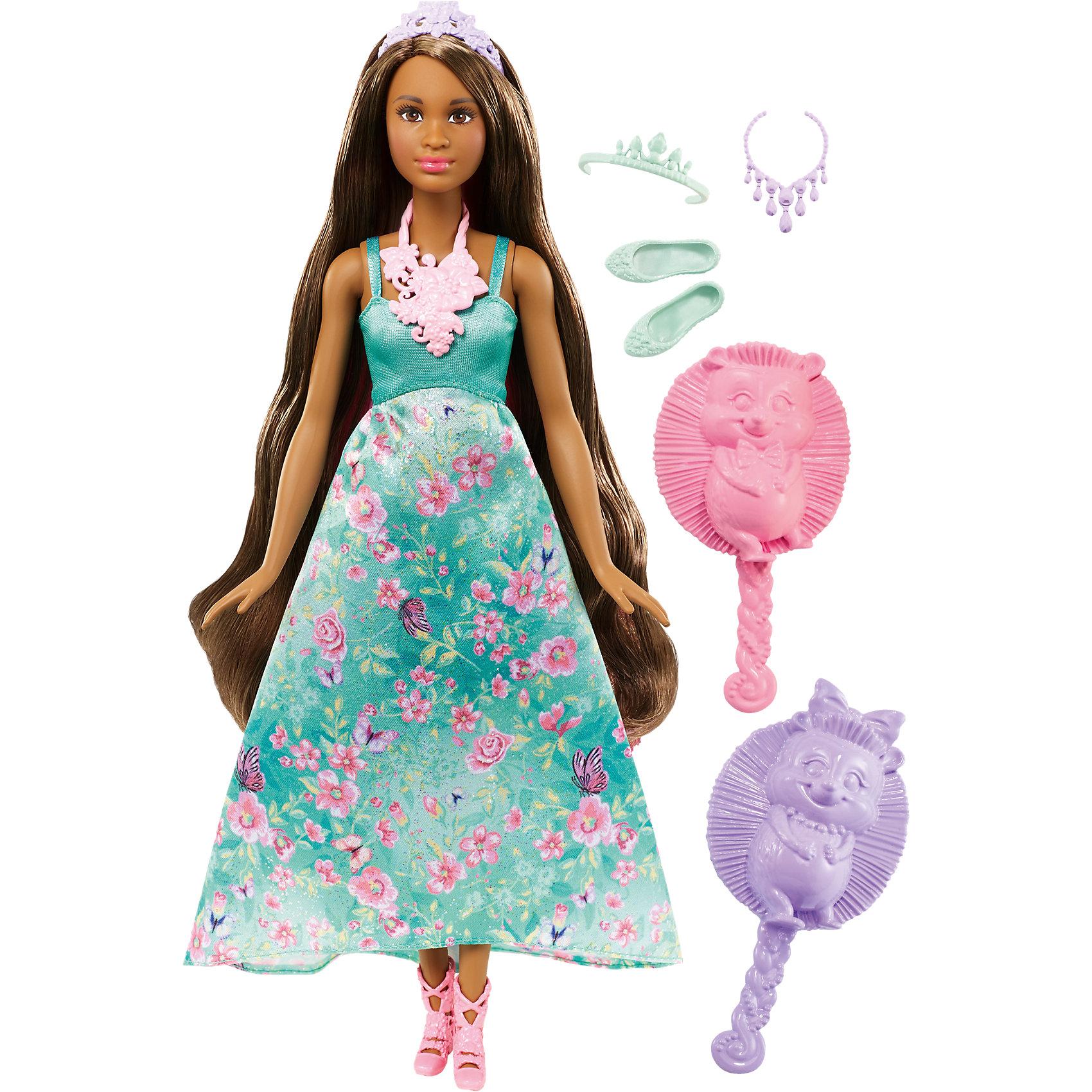 Принцесса с волшебными волосами, BarbieBarbie<br>Характеристики товара:<br><br>• комплектация: кукла, одежда, аксессуары, расческа и губка<br>• материал: пластик, текстиль<br>• серия: Barbie™ Dreamtopia «Принцесса с волшебными волосами»<br>• руки, ноги гнутся<br>• высота куклы: 29 см<br>• возраст: от трех лет<br>• размер упаковки: 33х12х5 см<br>• вес: 0,3 кг<br>• страна бренда: США<br><br>Эта красивая кукла Барби умеет менять цвет волос! Чтобы начать с ней играть, необходимо повернуть макушку куклы или смочить пряди губкой из набора! Барби из серии Dreamtopia «Принцесса с волшебными волосами» станет великолепным подарком для девочек. Кукла одета в красивый наряд и дополнена аксессуарами.<br><br>Куклы - это не только весело, они помогают девочкам развить вкус и чувство стиля, отработать сценарии поведения в обществе, развить воображение и мелкую моторику. Кукла от бренда Mattel не перестает быть популярной! <br><br>Куклу Принцесса с волшебными волосами от компании Mattel можно купить в нашем интернет-магазине.<br><br>Ширина мм: 328<br>Глубина мм: 230<br>Высота мм: 66<br>Вес г: 278<br>Возраст от месяцев: 36<br>Возраст до месяцев: 72<br>Пол: Женский<br>Возраст: Детский<br>SKU: 5257126