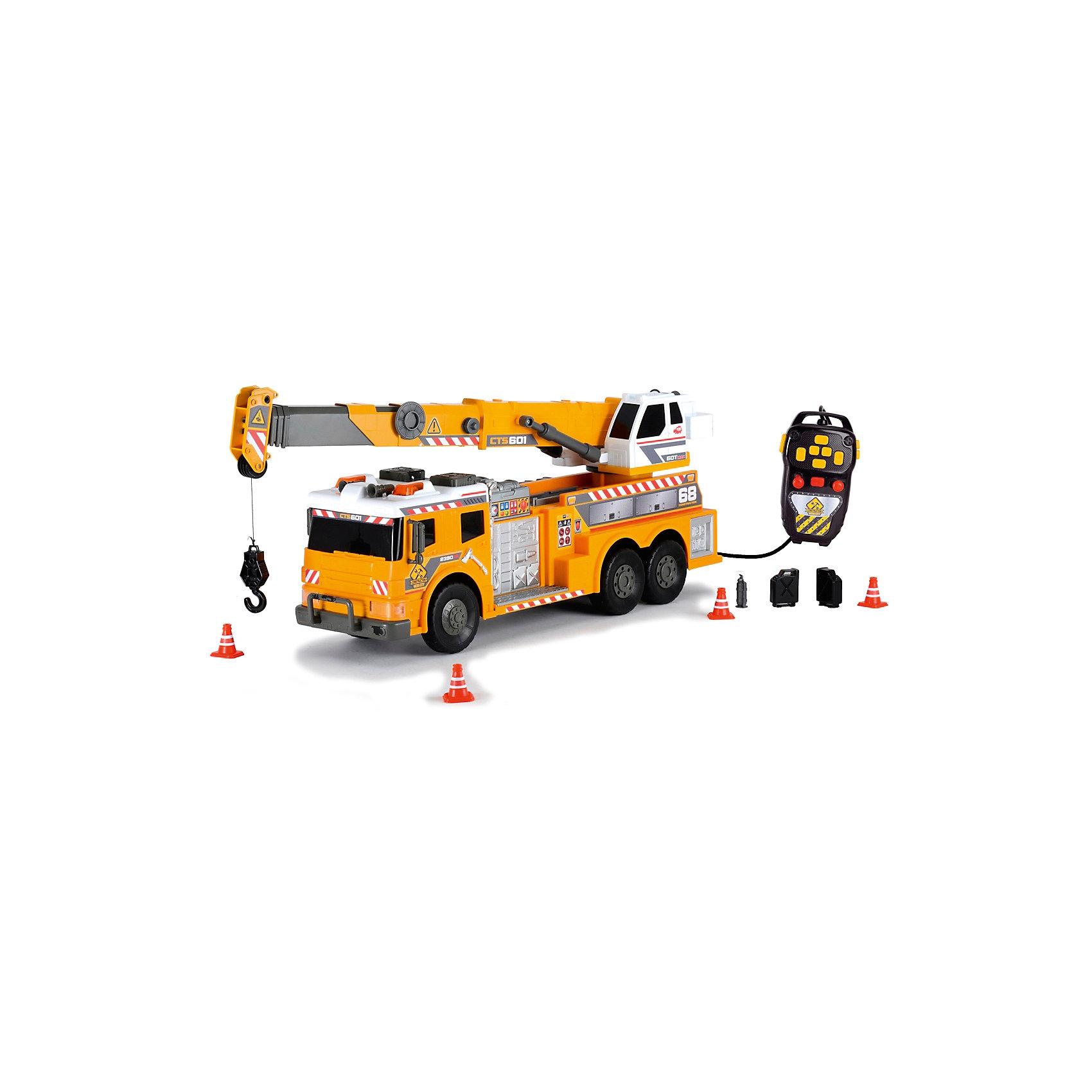 Машинка с подъемным краном на д/у, 62 см, Dickie ToysИгровые наборы<br>Характеристики:<br><br>• длина автомобиля: 62 см;<br>• световые и звуковые эффекты;<br>• дистанционное управление;<br>• подвижные элементы;<br>• аксессуары: 4 конуса, 2 канистры, огнетушитель;<br>• размер упаковки: 70х26х18 см;<br>• вес: 1 кг.<br><br>Стрела крана поднимается и опускается, платформа поворачивается. Пульт управления позволяет приводить кран в движение. Вытягивается крюк на веревке. Машина на свободном ходу. Батарейки входят в комплект набора, 2 шт. типа АА.<br><br>Машинку с подъемным краном на д/у, 62 см, Dickie Toys можно купить в нашем магазине.<br><br>Ширина мм: 180<br>Глубина мм: 279<br>Высота мм: 738<br>Вес г: 2590<br>Возраст от месяцев: 36<br>Возраст до месяцев: 120<br>Пол: Мужской<br>Возраст: Детский<br>SKU: 5258958