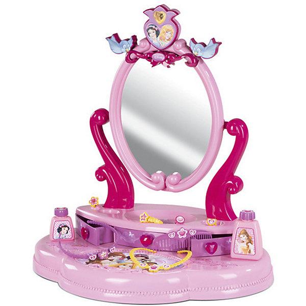 Настольная студия красоты, Smoby, Принцессы ДиснейПринцессы Дисней<br>Характеристики:<br><br>• оформление в стиле: Disney Princess;<br>• аксессуары: расческа, ободок, флакончики, перстень;<br>• материал: пластик;<br>• размер упаковки: 50,5х49х36 см.<br><br>Студия красоты для девочек играет важную роль в развитии женственности и вкуса. Овальное зеркало установлено на специальную подставку. Выдвижные ящички предназначены для хранения бижутерии. Зеркальце вращается вокруг своей оси, можно отрегулировать угол наклона. Набор оформлен в стиле диснеевских принцесс. <br><br>Настольную студию красоты, Smoby, Принцессы Дисней можно купить в нашем магазине.<br><br>Ширина мм: 130<br>Глубина мм: 390<br>Высота мм: 490<br>Вес г: 1500<br>Возраст от месяцев: 36<br>Возраст до месяцев: 120<br>Пол: Женский<br>Возраст: Детский<br>SKU: 5258961