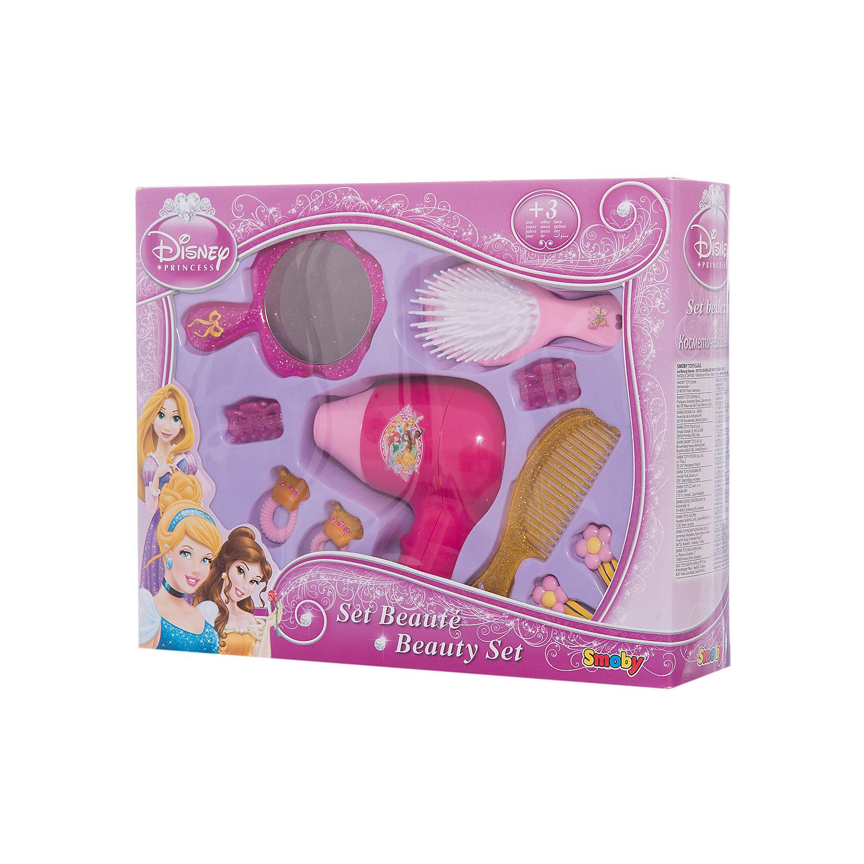 Набор парикмахера, Smoby, Принцессы ДиснейПринцессы Дисней<br>Характеристики:<br><br>• оформление в стиле: Disney Princess;<br>• аксессуары: щетка, расческа, фен, зажимы для волос, резинки, заколки, зеркальце;<br>• материал: пластик;<br>• размер упаковки: 35х27х8 см;<br>• вес: 430 г.<br><br>Сделать куклам прически, заплести косички или хвостики, украсить прическу бантиками или заколочками – с набором Smoby у девочки появится отличный шанс стать профессиональным парикмахером.<br><br>Набор парикмахера, Smoby, Принцессы Дисней можно купить в нашем магазине.<br><br>Ширина мм: 70<br>Глубина мм: 280<br>Высота мм: 220<br>Вес г: 300<br>Возраст от месяцев: 36<br>Возраст до месяцев: 120<br>Пол: Женский<br>Возраст: Детский<br>SKU: 5258962