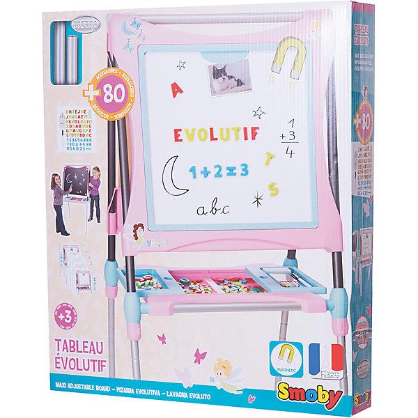 Мольберт-трансформер, розовый, SmobyКоврики и доски для рисования<br>Характеристики:<br><br>• аксессуары: 60 предметов;<br>• размер мольберта: 63х63х125 см;<br>• высота: 80-125 см;<br>• размер упаковки: 72х11х62 см;<br>• вес: 7 кг.<br><br>Мольберт для рисования имеет две стороны, черную и белую, для рисования и крепления магнитиков. Входящие в комплект цифры и знаки помогают освоить счет, фигурки крепятся с помощью магнитиков. Рисовать можно мелками (на черной поверхности), стирая художества специальной губкой. Маркер хорошо рисует на белой стороне мольберта. <br><br>Мольберт-трансформер Smoby укомплектован полочкой-подставкой, раздвижные панели которой имеют внутренний отсек для хранения канцелярских принадлежностей. <br><br>Высота рабочей поверхности мольберта регулируется по высоте. В сложенном состоянии мольберт занимает мало места. <br><br>Мольберт-трансформер, розовый, Smoby можно купить в нашем магазине.<br><br>Ширина мм: 720<br>Глубина мм: 600<br>Высота мм: 110<br>Вес г: 2000<br>Возраст от месяцев: 36<br>Возраст до месяцев: 120<br>Пол: Женский<br>Возраст: Детский<br>SKU: 5258965