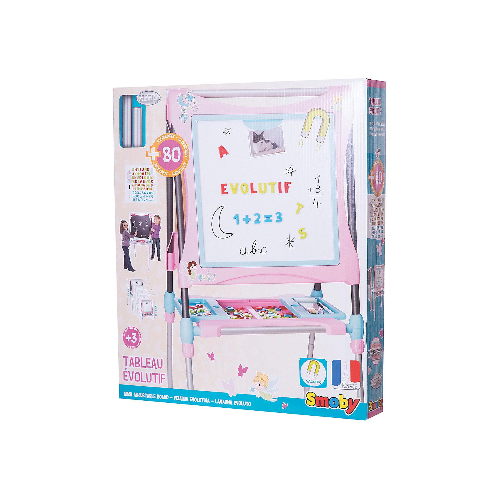 Мольберт-трансформер, розовый, SmobyМебель<br>Характеристики:<br><br>• аксессуары: 60 предметов;<br>• размер мольберта: 63х63х125 см;<br>• высота: 80-125 см;<br>• размер упаковки: 72х11х62 см;<br>• вес: 7 кг.<br><br>Мольберт для рисования имеет две стороны, черную и белую, для рисования и крепления магнитиков. Входящие в комплект цифры и знаки помогают освоить счет, фигурки крепятся с помощью магнитиков. Рисовать можно мелками (на черной поверхности), стирая художества специальной губкой. Маркер хорошо рисует на белой стороне мольберта. <br><br>Мольберт-трансформер Smoby укомплектован полочкой-подставкой, раздвижные панели которой имеют внутренний отсек для хранения канцелярских принадлежностей. <br><br>Высота рабочей поверхности мольберта регулируется по высоте. В сложенном состоянии мольберт занимает мало места. <br><br>Мольберт-трансформер, розовый, Smoby можно купить в нашем магазине.<br><br>Ширина мм: 720<br>Глубина мм: 600<br>Высота мм: 110<br>Вес г: 2000<br>Возраст от месяцев: 36<br>Возраст до месяцев: 120<br>Пол: Женский<br>Возраст: Детский<br>SKU: 5258965