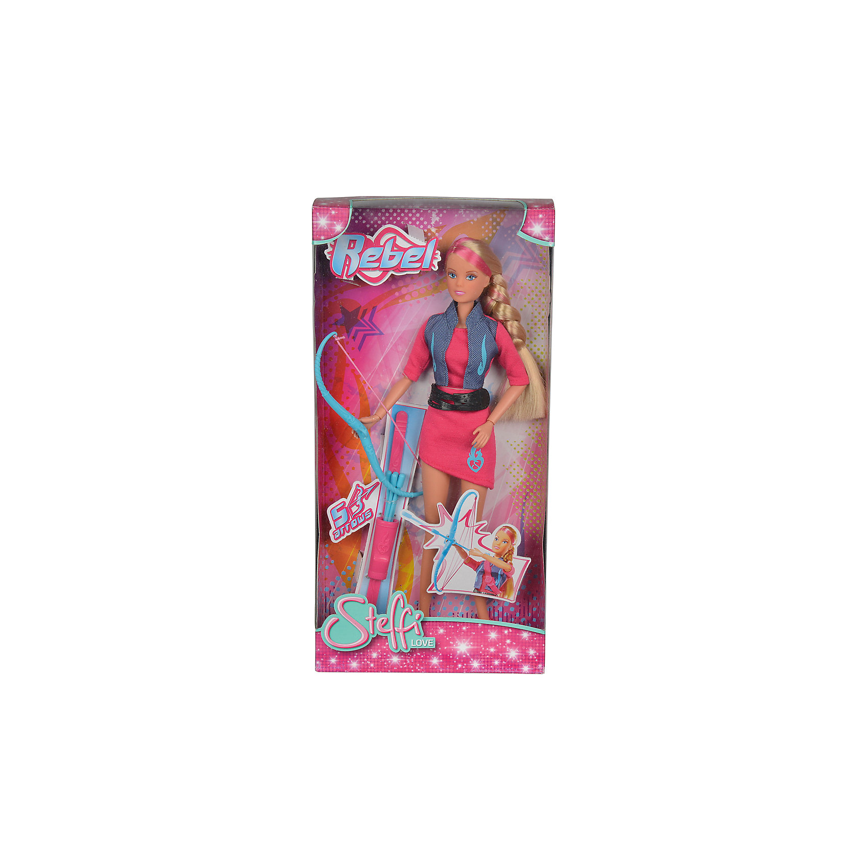 Кукла Штеффи-мятежный дух, 29 см, SimbaХарактеристики:<br><br>• высота куклы: 29 см<br>• серия: Steffi Love;<br>• аксессуары: лук и колчан со стрелами;<br>• материал: пластик, текстиль;<br>• размер упаковки: 35х8х8 см.<br><br>Кукла Штеффи выходит на тропу войны. Вооружившись луком, Штеффи выбирает цель и метит точно в яблочко. Одета вожак воинственного племени соответствующим моднице образом: платьице и жакет, ботиночки.<br><br>Куклу Штеффи-мятежный дух, 29 см, Simba можно купить в нашем магазине.<br><br>Ширина мм: 110<br>Глубина мм: 90<br>Высота мм: 220<br>Вес г: 100<br>Возраст от месяцев: 36<br>Возраст до месяцев: 120<br>Пол: Женский<br>Возраст: Детский<br>SKU: 5258968
