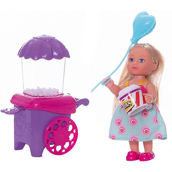 Кукла Еви делает попкорн, 12 см, SimbaКуклы<br>Характеристики:<br><br>• высота куклы: 12 см;<br>• аксессуары: тележка с попкорном, стаканчик для попкорна, пластиковый воздушный шарик;<br>• размер упаковки: 16х14х6,5 см.<br><br>Малышка Еви угощает всех желающих попкорном. Прибор работает без батареек, для запуска сахарных шариков рычаг опускается вниз ручным способом. Одета куколка Еви в летнее платьице, ее золотистые волосы можно расчесывать и менять образ красавицы.<br><br>Куклу Еви делает попкорн, 12 см, Simba можно купить в нашем магазине.<br>Ширина мм: 65; Глубина мм: 160; Высота мм: 140; Вес г: 1; Возраст от месяцев: 36; Возраст до месяцев: 120; Пол: Женский; Возраст: Детский; SKU: 5258969;