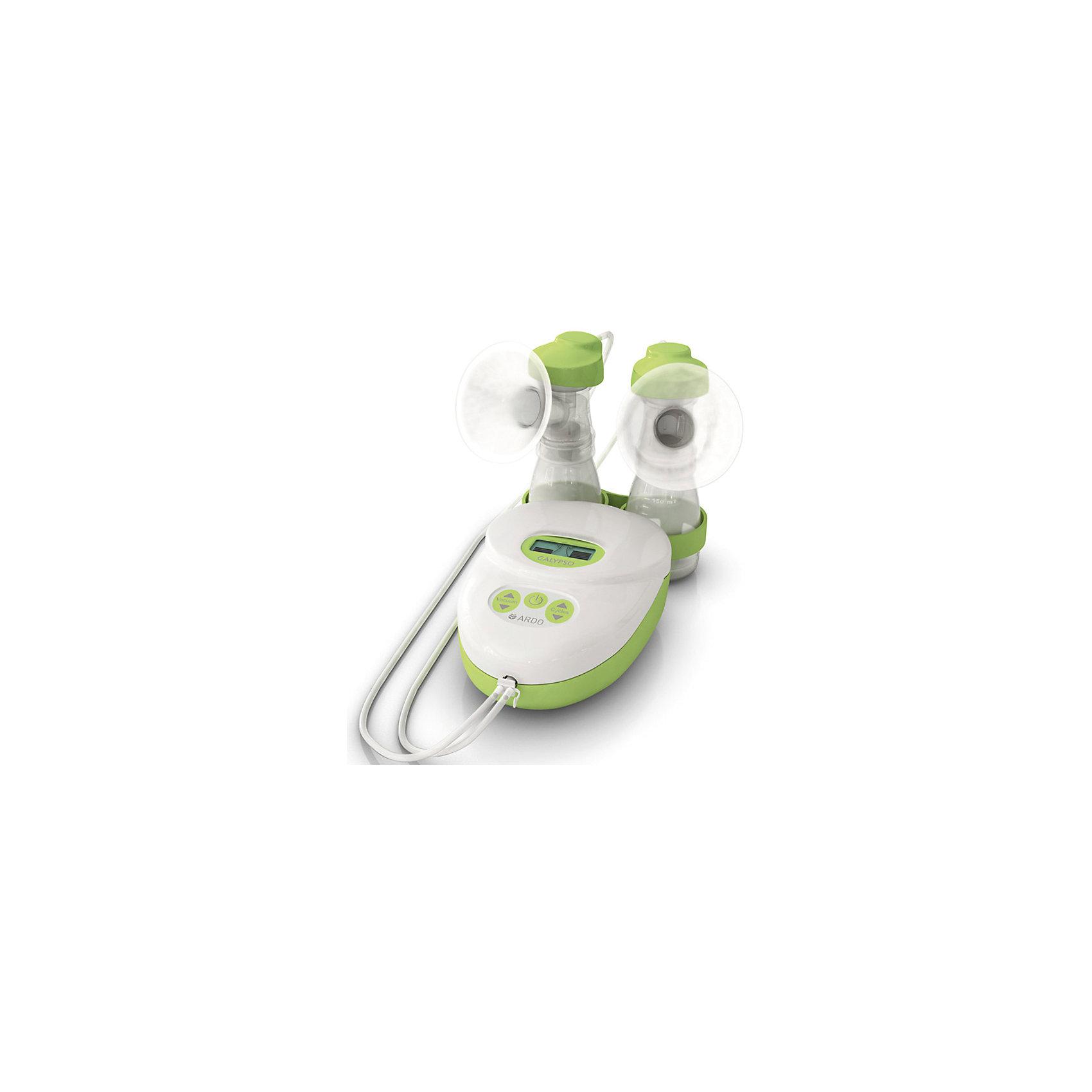 Электрический молокоотсос CALYPSO DOUBLE PLUS, ARDOМолокоотсосы и аксессуары<br>Электрический молокоотсос CALYPSO DOUBLE PLUS, ARDO (АРДО).<br><br>Характеристики:<br><br>- Комплектация: молокоотсос, 2 набора для сцеживания с воронкой 26 мм, 2 массажные насадки Optiflow, 2 дополнительные воронки 31 мм, 2 дополнительные воронки 28 мм, подставка под наборы для сцеживания, ершик для мытья, блок питания<br>- Работает как от сети, так и от батареек<br>- Батарейки: 6 типа АА<br>- Уникальная гарантия на 400 часов непрерывной работы<br>- Материал: пластик<br>- Не содержит Бисфенол-А<br>- Размер насоса: 190 x 130 x 76 мм.<br>- Размер сетевого адаптера: 100 x 60 x 90 мм.<br>- Вес насоса: 0,545 кг.<br>- Вес сетевого адаптера: 0,445 кг.<br><br>Электрический молокоотсос CALYPSO DOUBLE PLUS от компании ARDO (АРДО) – это самый тихий электрический молокоотсос. Он разработан специально для повседневного и частого использования и позволяет аккуратно сцеживать молоко из обеих грудей одновременно. Электрический молокоотсос CALYPSO DOUBLE PLUS – это единственный молокоотсос с 64 индивидуальными программами сцеживания (8 уровней по скорости сцеживания и 8 уровней по объему сцеживаемого молока). Мама сама подбирает тот режим сцеживания, который ей максимально комфортен, нажатием на кнопку электронного дисплея. Специальная массажная насадка сводит до минимума болевые ощущения, позволяет использовать щадящий режим сцеживания, сопровождающийся массажем груди. Благодаря индивидуальным настройкам сцеживания, насадкам под разные формы и размеры груди, учитывающим потребности каждой мамы, процесс сцеживание молока станет приятным и эффективным. Абсолютно бесшумная работа молокоотсоса достигнута с помощью поршневого насоса. В отличие от роторного механизма, поршневой воспроизводит движения малыша, как при кормлении грудью. Теперь сцеживание максимально приближено к естественному кормлению грудью! Воронки для сцеживания имеют антибактериальный барьер VacuuSeal, и на 100% защищают грудное молоко от 