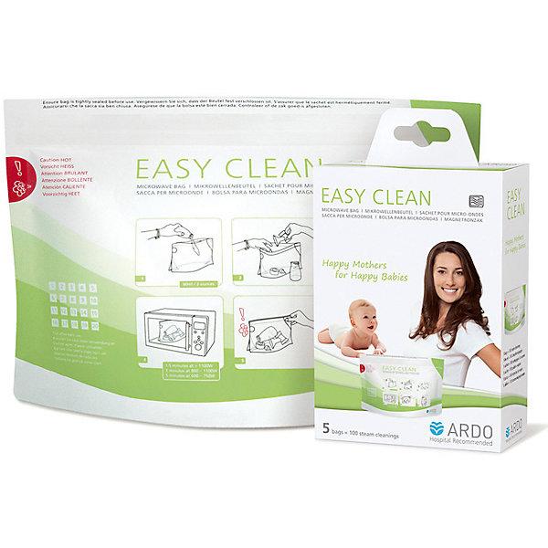 Пакеты для стерилизации и хранения EASY CLEAN, ARDOМолокоотсосы и аксессуары<br>Пакеты для стерилизации и хранения EASY CLEAN, ARDO (АРДО).<br><br>Характеристики:<br><br>- Комплектация: 5 пакетов<br>- 1 упаковки хватает на 100 применений<br><br>Пакеты Easy Clean от компании Ardo (Ардо) эффективно убивают бактерии и микробы на 99,9%. Они разработаны для стерилизации различных средств и аксессуаров, которые допускается стерилизовать в микроволновой печи. Это детали молокоотсосов, назальные аспираторы, детская посуда и прочее. Простые и безопасные в использовании пакеты позволяют за пару минут стерилизации полностью очистить необходимые предметы от любой патогенной микрофлоры. Их достаточно просто вымыть с мылом и положить в пакете в микроволновую печь. Пароотводный клапан, предусмотренный в пакетах, позволяет избежать ожогов при их вскрытии. После стерилизации храните стерилизованный комплект в закрытом пакете до момента использования.<br><br>Пакеты для стерилизации и хранения EASY CLEAN, ARDO (АРДО) можно купить в нашем интернет-магазине.<br><br>Ширина мм: 150<br>Глубина мм: 200<br>Высота мм: 200<br>Вес г: 500<br>Возраст от месяцев: 0<br>Возраст до месяцев: 12<br>Пол: Унисекс<br>Возраст: Детский<br>SKU: 5262001