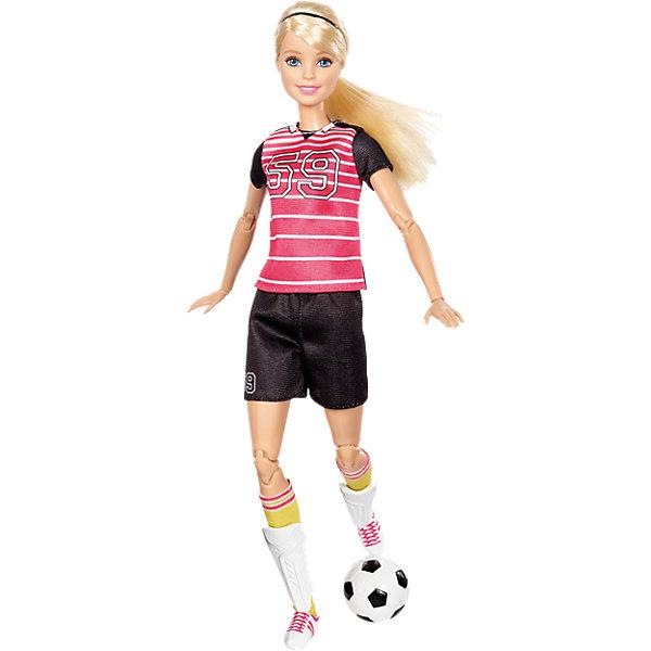 Кукла Футболистка из серии Безграничные движения, BarbieКуклы модели<br>Характеристики товара:<br><br>• комплектация: кукла, одежда, аксессуары<br>• материал: пластик, текстиль<br>• серия: Безграничные движения<br>• руки, ноги гнутся<br>• высота куклы: 29 см<br>• возраст: от трех лет<br>• размер упаковки: 33х17х7 см<br>• вес: 0,3 кг<br>• страна бренда: США<br><br>Барби может разной! Такой современный образ изящной куклы порадует маленьких любительниц спорта. Спортивную форму дополняет обувь и аксессуары. Руки и ноги гнутся еще лучше! Барби из серии Безграничные движения станет великолепным подарком для девочек, которые живут спортом.<br><br>Таки куклы помогают развить у девочек любовь к спорту, отработать сценарии поведения в обществе, развить воображение и мелкую моторику. Барби от бренда Mattel не перестает быть популярной! <br><br>Куклу Футболистка из серии Безграничные движения от компании Mattel можно купить в нашем интернет-магазине.<br>Ширина мм: 333; Глубина мм: 164; Высота мм: 50; Вес г: 237; Возраст от месяцев: 36; Возраст до месяцев: 72; Пол: Женский; Возраст: Детский; SKU: 5262418;