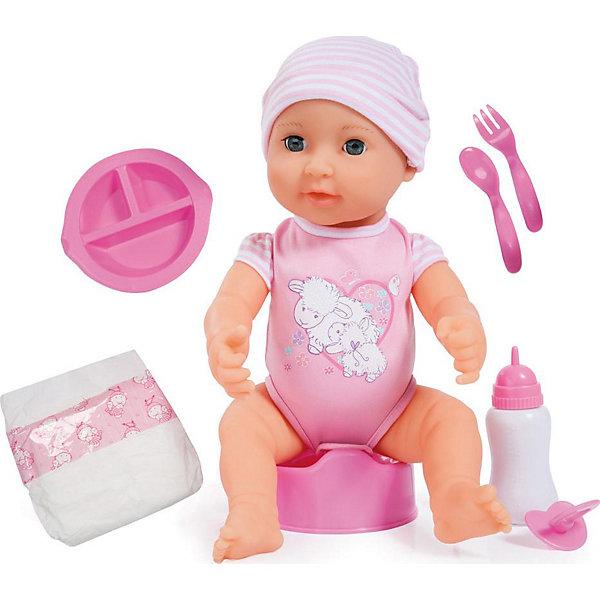 Интерактивная кукла Bayer, Новорожденный малыш, 40 смБренды кукол<br>Характеристики товара:<br><br>• возраст: от 3 лет;<br>• материал: пластик, текстиль;<br>• в комплекте: кукла, бутылочка, горшок, тарелка, ложка, вилка, подгузник;<br>• высота куклы: 40 см;<br>• размер упаковки: 38х31х18 см;<br>• вес упаковки: 1,3 кг.<br><br>Кукла Bayer «Новорожденный малыш» - очаровательный младенец, одетый в розовое боди и шапочку. Игра с пупсом привьет девочке чувство заботы и ответственности. Куколку можно напоить из бутылочки, когда она захочет попить.<br><br>Только после того, как она попьет, нужно не забыть посадить ее на горшок. Тогда она пописает. У куклы подвижные голова, ручки, ножки, соединенные шарнирами.<br><br>Куклу Bayer «Новорожденный малыш» можно приобрести в нашем интернет-магазине.<br>Ширина мм: 388; Глубина мм: 314; Высота мм: 185; Вес г: 1007; Возраст от месяцев: 36; Возраст до месяцев: 60; Пол: Женский; Возраст: Детский; SKU: 5263027;