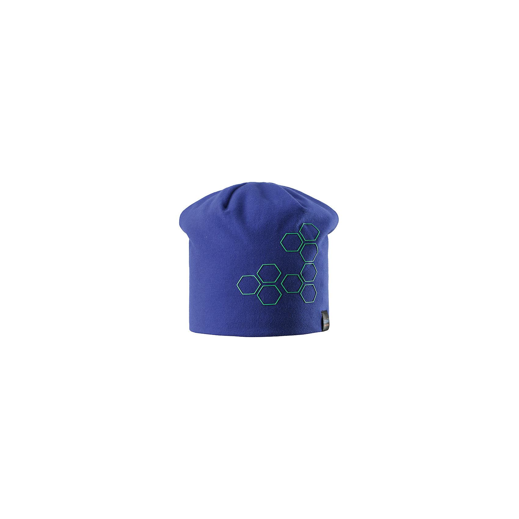 Шапка  LASSIEШапки и шарфы<br>Характеристики товара:<br><br>• цвет: синий<br>• состав: 95% хлопок, 5% эластан<br>• эластичный материал<br>• мягкая сплошная подкладка: флис<br>• принт<br>• ветронепроницаемые вставки в области ушей<br>• декоративная эмблема<br>• комфортная посадка<br>• страна производства: Китай<br>• страна бренда: Финляндия<br>• коллекция: весна-лето 2017<br><br>Детский головной убор может быть модным и удобным одновременно! Стильная шапка поможет обеспечить ребенку комфорт и дополнить наряд. Она отлично смотрится с различной одеждой. Шапка удобно сидит и аккуратно выглядит. Проста в уходе, долго служит. Продуманный крой разрабатывался специально для детей.<br><br>Обувь и одежда от финского бренда LASSIE пользуются популярностью во многих странах. Они стильные, качественные и удобные. Для производства продукции используются только безопасные, проверенные материалы и фурнитура. Порадуйте ребенка модными и красивыми вещами от Lassie®! <br><br>Шапку от финского бренда LASSIE можно купить в нашем интернет-магазине.<br><br>Ширина мм: 89<br>Глубина мм: 117<br>Высота мм: 44<br>Вес г: 155<br>Цвет: синий<br>Возраст от месяцев: 72<br>Возраст до месяцев: 120<br>Пол: Унисекс<br>Возраст: Детский<br>Размер: 54-56,46-48,50-52<br>SKU: 5264123