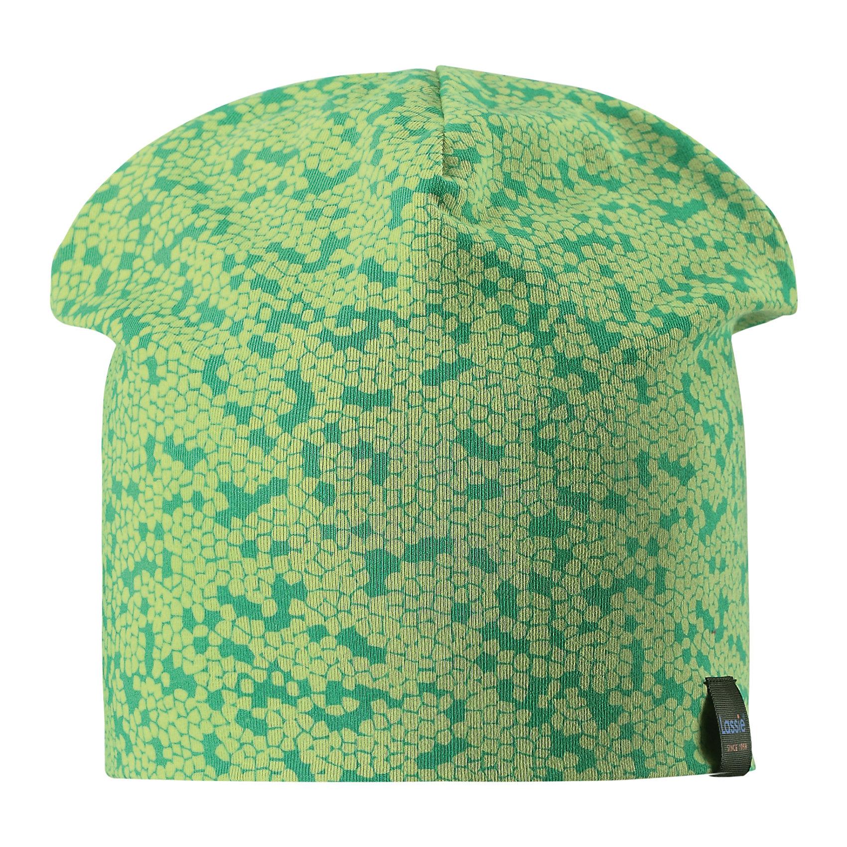 Шапка LASSIEШапки и шарфы<br>Характеристики товара:<br><br>• цвет: зеленый<br>• температурный режим: от +15°до +5°С<br>• состав: 97% хлопок, 3% эластан<br>• эластичный материал<br>• мягкая сплошная подкладка: смесь хлопка jersey<br>• ветронепроницаемые вставки в области ушей<br>• принт<br>• комфортная посадка<br>• страна производства: Китай<br>• страна бренда: Финляндия<br>• коллекция: весна-лето 2017<br><br>Детский головной убор может быть модным и удобным одновременно! Стильная шапка поможет обеспечить ребенку комфорт и дополнить наряд. Она отлично смотрится с различной одеждой. Шапка удобно сидит и аккуратно выглядит. Проста в уходе, долго служит. Продуманный крой разрабатывался специально для детей.<br><br>Обувь и одежда от финского бренда LASSIE пользуются популярностью во многих странах. Они стильные, качественные и удобные. Для производства продукции используются только безопасные, проверенные материалы и фурнитура. Порадуйте ребенка модными и красивыми вещами от Lassie®! <br><br>Шапку от финского бренда LASSIE можно купить в нашем интернет-магазине.<br><br>Ширина мм: 89<br>Глубина мм: 117<br>Высота мм: 44<br>Вес г: 155<br>Цвет: зеленый<br>Возраст от месяцев: 36<br>Возраст до месяцев: 60<br>Пол: Унисекс<br>Возраст: Детский<br>Размер: 50-52,46-48,54-56<br>SKU: 5264215