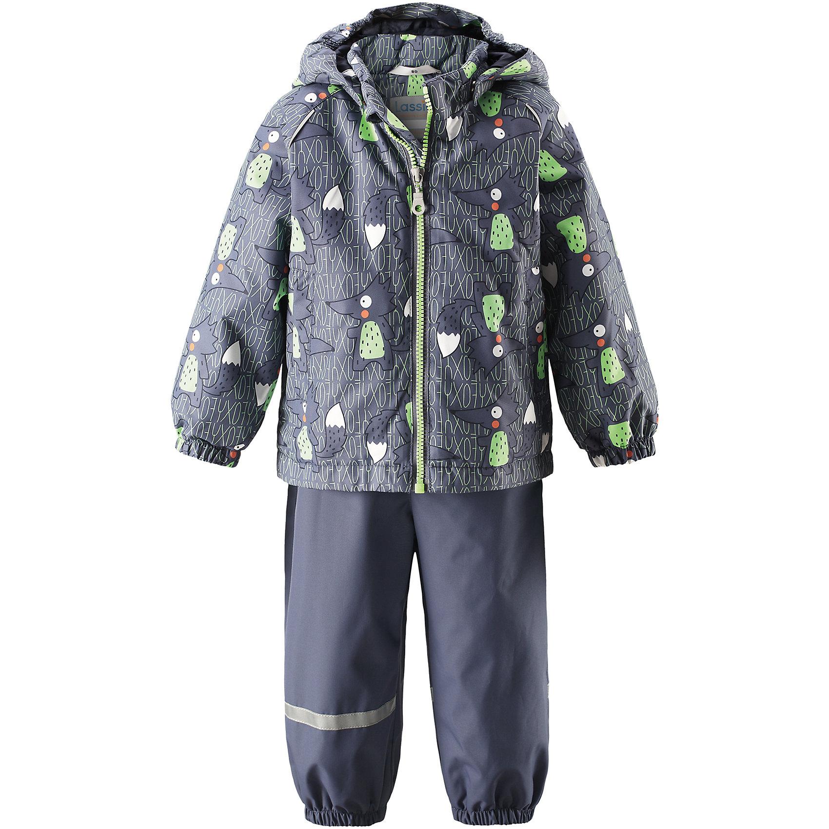 Комплект LASSIEВерхняя одежда<br>Комплект LASSIE<br>Состав:<br>100% Полиэстер, полиуретановое покрытие<br> Демисезонный комплект для самых маленьких.<br> Водоотталкивающий, ветронепроницаемый и «дышащий» материал.<br> Гладкая подкладка из полиэстра.<br> Легкая степень утепления.<br> Безопасный, съемный капюшон.<br> Эластичные манжеты.<br> Регулируемый обхват талии.<br> Эластичные штанины.<br> Съемные штрипки.<br> Два прорезных кармана.<br> Регулируемые эластичные подтяжки.<br><br>Ширина мм: 356<br>Глубина мм: 10<br>Высота мм: 245<br>Вес г: 519<br>Цвет: серый<br>Возраст от месяцев: 6<br>Возраст до месяцев: 9<br>Пол: Унисекс<br>Возраст: Детский<br>Размер: 74,86,98,92,80<br>SKU: 5264904