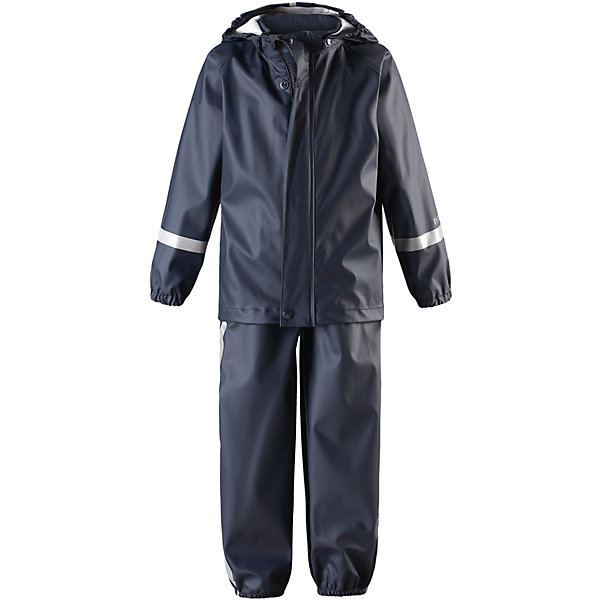 Непромокаемый комплект Tihku: куртка и брюки для мальчика ReimaОдежда<br>Характеристики товара:<br><br>• цвет: темно-синий<br>• состав: 100% полиэстер, полиуретановое покрытие<br>• температурный режим: от +10°до +20°С<br>• водонепроницаемость: 10000 мм<br>• без утеплителя<br>• комплектация: куртка, штаны<br>• водонепроницаемый материал с запаянными швами<br>• эластичный материал<br>• не содержит ПВХ<br>• безопасный съемный капюшон<br>• эластичные манжеты <br>• регулируемая талия<br>• эластичные манжеты на брючинах<br>• комфортная посадка<br>• съемные эластичные штрипки <br>• регулируемые подтяжки<br>• спереди застёгивается на молнию<br>• светоотражающие детали<br>• страна производства: Китай<br>• страна бренда: Финляндия<br>• коллекция: весна-лето 2017<br><br>Демисезонный комплект из куртки и штанов поможет обеспечить ребенку комфорт и тепло. Предметы отлично смотрятся с различной одеждой. Комплект удобно сидит и модно выглядит. Материал отлично подходит для дождливой погоды. Стильный дизайн разрабатывался специально для детей.<br><br>Обувь и одежда от финского бренда Reima пользуются популярностью во многих странах. Они стильные, качественные и удобные. Для производства продукции используются только безопасные, проверенные материалы и фурнитура.<br><br>Комплект: куртка и брюки для мальчика от финского бренда Reima (Рейма) можно купить в нашем интернет-магазине.<br><br>Ширина мм: 356<br>Глубина мм: 10<br>Высота мм: 245<br>Вес г: 519<br>Цвет: синий<br>Возраст от месяцев: 6<br>Возраст до месяцев: 9<br>Пол: Мужской<br>Возраст: Детский<br>Размер: 74,92,104,116,80,110,86,98<br>SKU: 5265427