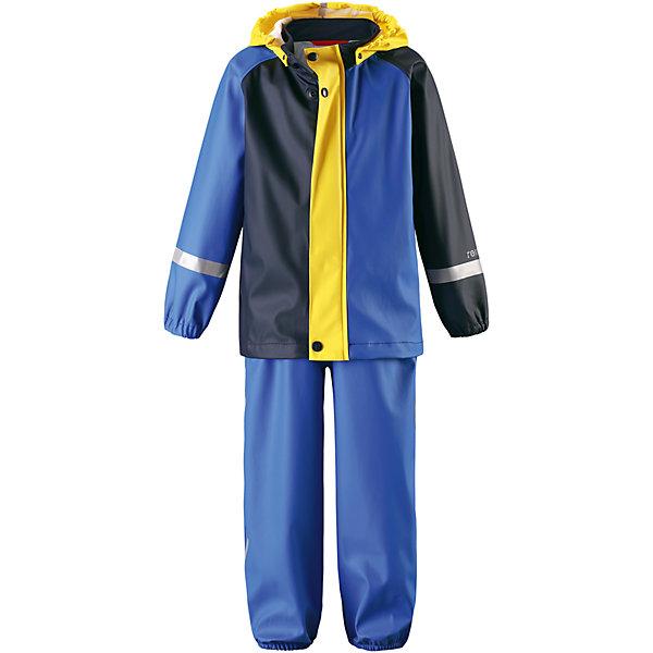 Непромокаемый комплект Tihku: куртка и брюки для мальчика ReimaОдежда<br>Характеристики товара:<br><br>• цвет: синий<br>• состав: 100% полиэстер, полиуретановое покрытие<br>• температурный режим: от +10°до +20°С<br>• водонепроницаемость: 10000 мм<br>• без утеплителя<br>• комплектация: куртка, штаны<br>• водонепроницаемый материал с запаянными швами<br>• эластичный материал<br>• не содержит ПВХ<br>• безопасный съемный капюшон<br>• эластичные манжеты <br>• регулируемая талия<br>• эластичные манжеты на брючинах<br>• комфортная посадка<br>• съемные эластичные штрипки <br>• регулируемые подтяжки<br>• спереди застёгивается на молнию<br>• светоотражающие детали<br>• страна производства: Китай<br>• страна бренда: Финляндия<br>• коллекция: весна-лето 2017<br><br>Демисезонный комплект из куртки и штанов поможет обеспечить ребенку комфорт и тепло. Предметы отлично смотрятся с различной одеждой. Комплект удобно сидит и модно выглядит. Материал отлично подходит для дождливой погоды. Стильный дизайн разрабатывался специально для детей.<br><br>Обувь и одежда от финского бренда Reima пользуются популярностью во многих странах. Они стильные, качественные и удобные. Для производства продукции используются только безопасные, проверенные материалы и фурнитура.<br><br>Комплект: куртка и брюки для мальчика от финского бренда Reima (Рейма) можно купить в нашем интернет-магазине.<br>Ширина мм: 356; Глубина мм: 10; Высота мм: 245; Вес г: 519; Цвет: синий; Возраст от месяцев: 6; Возраст до месяцев: 9; Пол: Мужской; Возраст: Детский; Размер: 74,86,110,104,98,116,92,80; SKU: 5265436;
