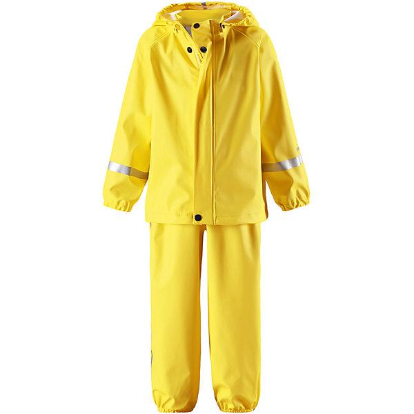 Непромокаемый комплект Tihku: куртка и брюки ReimaОдежда<br>Характеристики товара:<br><br>• цвет: желтый<br>• состав: 100% полиэстер, полиуретановое покрытие<br>• температурный режим: от +10°до +20°С<br>• водонепроницаемость: 10000 мм<br>• без утеплителя<br>• комплектация: куртка, штаны<br>• водонепроницаемый материал с запаянными швами<br>• эластичный материал<br>• не содержит ПВХ<br>• безопасный съемный капюшон<br>• эластичные манжеты <br>• регулируемая талия<br>• эластичные манжеты на брючинах<br>• комфортная посадка<br>• съемные эластичные штрипки <br>• регулируемые подтяжки<br>• спереди застёгивается на молнию<br>• светоотражающие детали<br>• страна производства: Китай<br>• страна бренда: Финляндия<br>• коллекция: весна-лето 2017<br><br>Демисезонный комплект из куртки и штанов поможет обеспечить ребенку комфорт и тепло. Предметы отлично смотрятся с различной одеждой. Комплект удобно сидит и модно выглядит. Материал отлично подходит для дождливой погоды. Стильный дизайн разрабатывался специально для детей.<br><br>Обувь и одежда от финского бренда Reima пользуются популярностью во многих странах. Они стильные, качественные и удобные. Для производства продукции используются только безопасные, проверенные материалы и фурнитура.<br><br>Комплект: куртка и брюки для мальчика от финского бренда Reima (Рейма) можно купить в нашем интернет-магазине.<br><br>Ширина мм: 356<br>Глубина мм: 10<br>Высота мм: 245<br>Вес г: 519<br>Цвет: желтый<br>Возраст от месяцев: 60<br>Возраст до месяцев: 72<br>Пол: Унисекс<br>Возраст: Детский<br>Размер: 116,104,92,98,86,110,80,74<br>SKU: 5265463