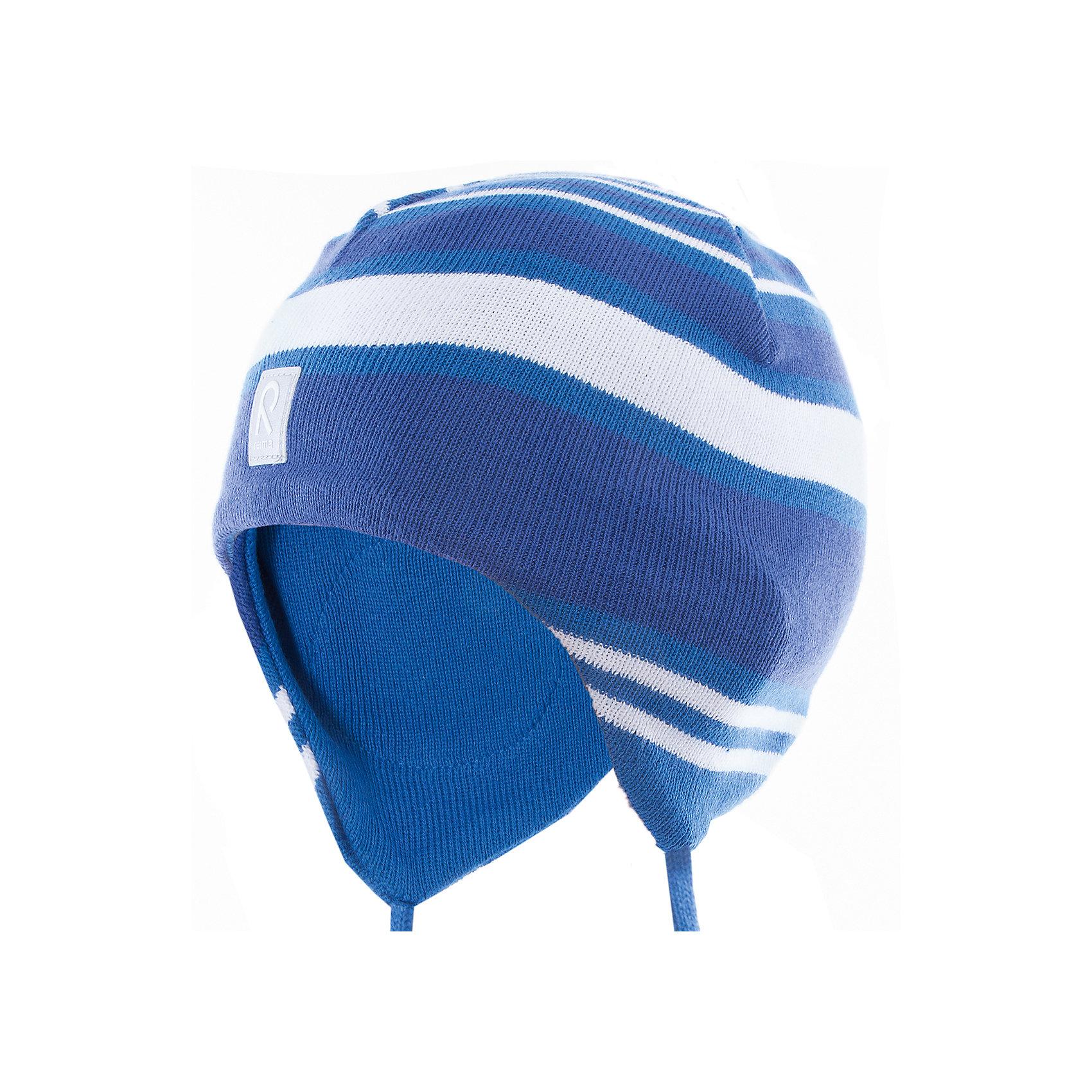 Шапка Aqueous ReimaШапки и шарфы<br>Характеристики товара:<br><br>• цвет: синий<br>• состав: 100% хлопок<br>• полуподкладка: хлопковый трикотаж<br>• температурный режим: от +5С<br>• эластичный хлопковый трикотаж<br>• инделие сертифицированно по стандарту Oeko-Tex на продукция класса 1 - одежда для новорождённых<br>• ветронепроницаемые вставки в области ушей<br>• завязки во всех размерах<br>• эмблема Reima спереди<br>• светоотражающие детали<br>• страна бренда: Финляндия<br>• страна производства: Китай<br><br>Детский головной убор может быть модным и удобным одновременно! Стильная шапка поможет обеспечить ребенку комфорт и дополнить наряд.  Шапка удобно сидит и аккуратно выглядит. Проста в уходе, долго служит. Стильный дизайн разрабатывался специально для детей. Отличная защита от дождя и ветра!<br><br>Уход:<br><br>• стирать по отдельности, вывернув наизнанку<br>• придать первоначальную форму вo влажном виде<br>• возможна усадка 5 %.<br><br>Шапку от финского бренда Reima (Рейма) можно купить в нашем интернет-магазине.<br><br>Ширина мм: 89<br>Глубина мм: 117<br>Высота мм: 44<br>Вес г: 155<br>Цвет: синий<br>Возраст от месяцев: 18<br>Возраст до месяцев: 36<br>Пол: Унисекс<br>Возраст: Детский<br>Размер: 50,46,52,48<br>SKU: 5265832