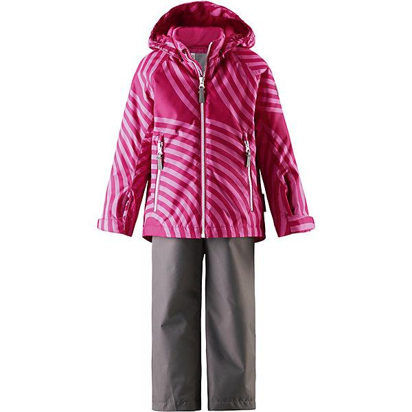 Комплект Seili: куртка и брюки для девочки Reimatec® ReimaОдежда<br>Характеристики товара:<br><br>• цвет: розовый/серый<br>• состав: 100% полиэстер, полиуретановое покрытие<br>• температурный режим: от 0° до +10°С<br>• легкий утеплитель: 80 гр/м2<br>• водонепроницаемость: 10000 мм<br>• воздухопроницаемость: куртка - 5000, брюки - 3000 мм<br>• износостойкость: куртка- 30000, брюки - 50000 циклов (тест Мартиндейла)<br>• основные швы проклеены, водонепроницаемы<br>• водо- и ветронепроницаемый, дышащий, грязеотталкивающий материал<br>• подкладка из мягкого полиэстера<br>• безопасный съёмный капюшон<br>• регулируемые манжеты на застёжке-липучке<br>• регулируемый подол<br>• регулируемые концы брючин<br>• комфортная посадка<br>• отстегивающиеся регулируемые подтяжки<br>• два кармана на молнии<br>• страна производства: Китай<br>• страна бренда: Финляндия<br>• коллекция: весна-лето 2017<br><br>Демисезонный комплект из куртки и штанов поможет обеспечить ребенку комфорт и тепло. Предметы отлично смотрятся с различной одеждой. Комплект удобно сидит и модно выглядит. Материал отлично подходит для дождливой погоды. Стильный дизайн разрабатывался специально для детей.<br><br>Обувь и одежда от финского бренда Reima пользуются популярностью во многих странах. Они стильные, качественные и удобные. Для производства продукции используются только безопасные, проверенные материалы и фурнитура.<br><br>Комплект: куртка и брюки для девочки Reimatec® от финского бренда Reima (Рейма) можно купить в нашем интернет-магазине.<br><br>Ширина мм: 356<br>Глубина мм: 10<br>Высота мм: 245<br>Вес г: 519<br>Цвет: розовый<br>Возраст от месяцев: 108<br>Возраст до месяцев: 120<br>Пол: Женский<br>Возраст: Детский<br>Размер: 140,92,98,104,110,116,122,128,134<br>SKU: 5266050