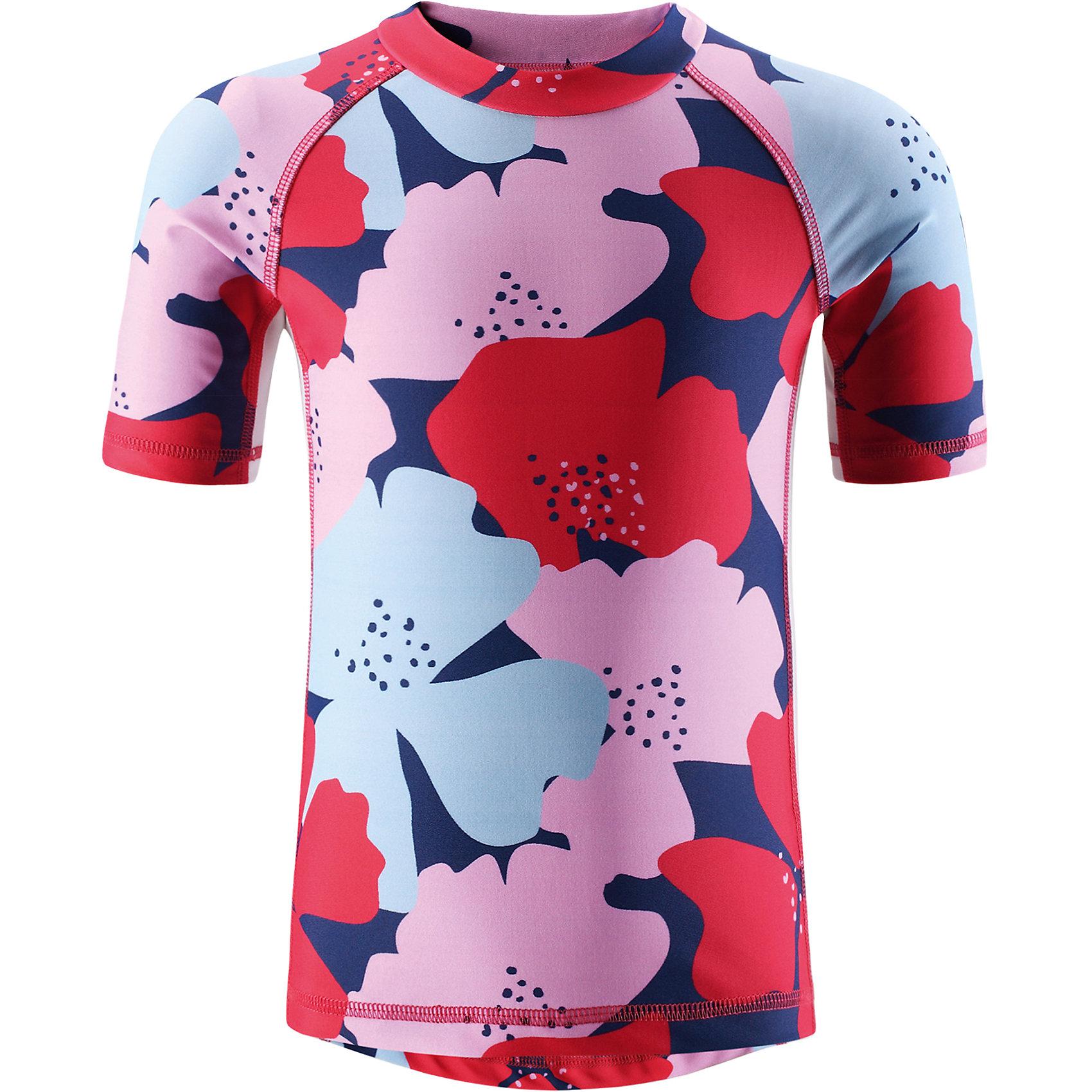 Футболка пляжная Fiji для девочки ReimaКупальники и плавки<br>Характеристики товара:<br><br>• цвет: красно-розовый принт<br>• состав: 80% полиамид, 20% эластан<br>• фактор защиты от ультрафиолета: 50+<br>• удлиненная сзади <br>• рукава до локтя<br>• декорирована принтом<br>• комфортная посадка<br>• страна производства: Китай<br>• страна бренда: Финляндия<br>• коллекция: весна-лето 2017<br><br>Одежда для лета и пляжного отдыха может быть модной и комфортной одновременно! Удобная симпатичная футболка SunProof поможет обеспечить ребенку комфорт - она не стесняет движения и обеспечивает защиту от ультрафиолета. Модель стильно смотрится, отлично сочетается с различными головными уборами и обувью. Стильный дизайн разрабатывался специально для детей.<br><br>Одежда и обувь от финского бренда Reima пользуется популярностью во многих странах. Эти изделия стильные, качественные и удобные. Для производства продукции используются только безопасные, проверенные материалы и фурнитура. Порадуйте ребенка модными и красивыми вещами от Reima! <br><br>Футболку SunProof для мальчика от финского бренда Reima (Рейма) можно купить в нашем интернет-магазине.<br><br>Ширина мм: 183<br>Глубина мм: 60<br>Высота мм: 135<br>Вес г: 119<br>Цвет: розовый<br>Возраст от месяцев: 84<br>Возраст до месяцев: 96<br>Пол: Женский<br>Возраст: Детский<br>Размер: 128,140,104,110,116,134,122<br>SKU: 5266650