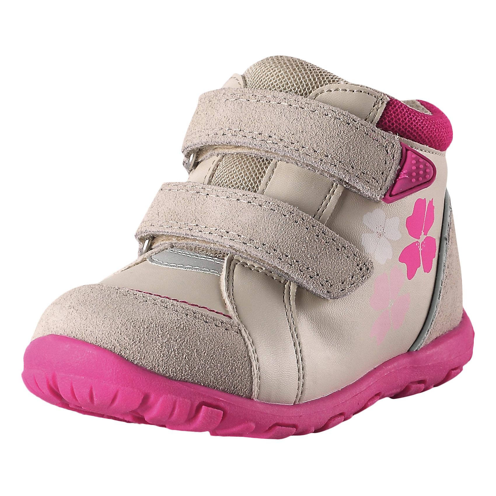 Полуботинки Lotte для девочки ReimaХарактеристики товара:<br><br>• цвет: бежевый/розовый<br>• состав: верх - 60% полиуретан, 30% кожа, 10% полиэстер, подошва - 100% термопластичная резина<br>• застежка: липучка<br>• устойчивая подошва<br>• декорированы принтом<br>• усиленная пятка и носок<br>• светоотражающие детали<br>• страна производства: Китай<br>• страна бренда: Финляндия<br>• коллекция: весна-лето 2017<br><br>Детская обувь может быть модной и комфортной одновременно! Удобные стильные полуботинки помогут обеспечить ребенку комфорт и дополнить наряд. Они отлично смотрятся с различной одеждой. Полуботинки удобно сидят на ноге и аккуратно смотрятся. Легко чистятся и долго служат. Продуманная конструкция разрабатывалась специально для детей.<br><br>Одежда и обувь от финского бренда Reima пользуется популярностью во многих странах. Эти изделия стильные, качественные и удобные. Для производства продукции используются только безопасные, проверенные материалы и фурнитура. Порадуйте ребенка модными и красивыми вещами от Reima! <br><br>Полуботинки от финского бренда Reima (Рейма) можно купить в нашем интернет-магазине.<br><br>Ширина мм: 262<br>Глубина мм: 176<br>Высота мм: 97<br>Вес г: 427<br>Цвет: коричневый<br>Возраст от месяцев: 15<br>Возраст до месяцев: 18<br>Пол: Женский<br>Возраст: Детский<br>Размер: 22,20,21,26,27,25,24,23<br>SKU: 5266765