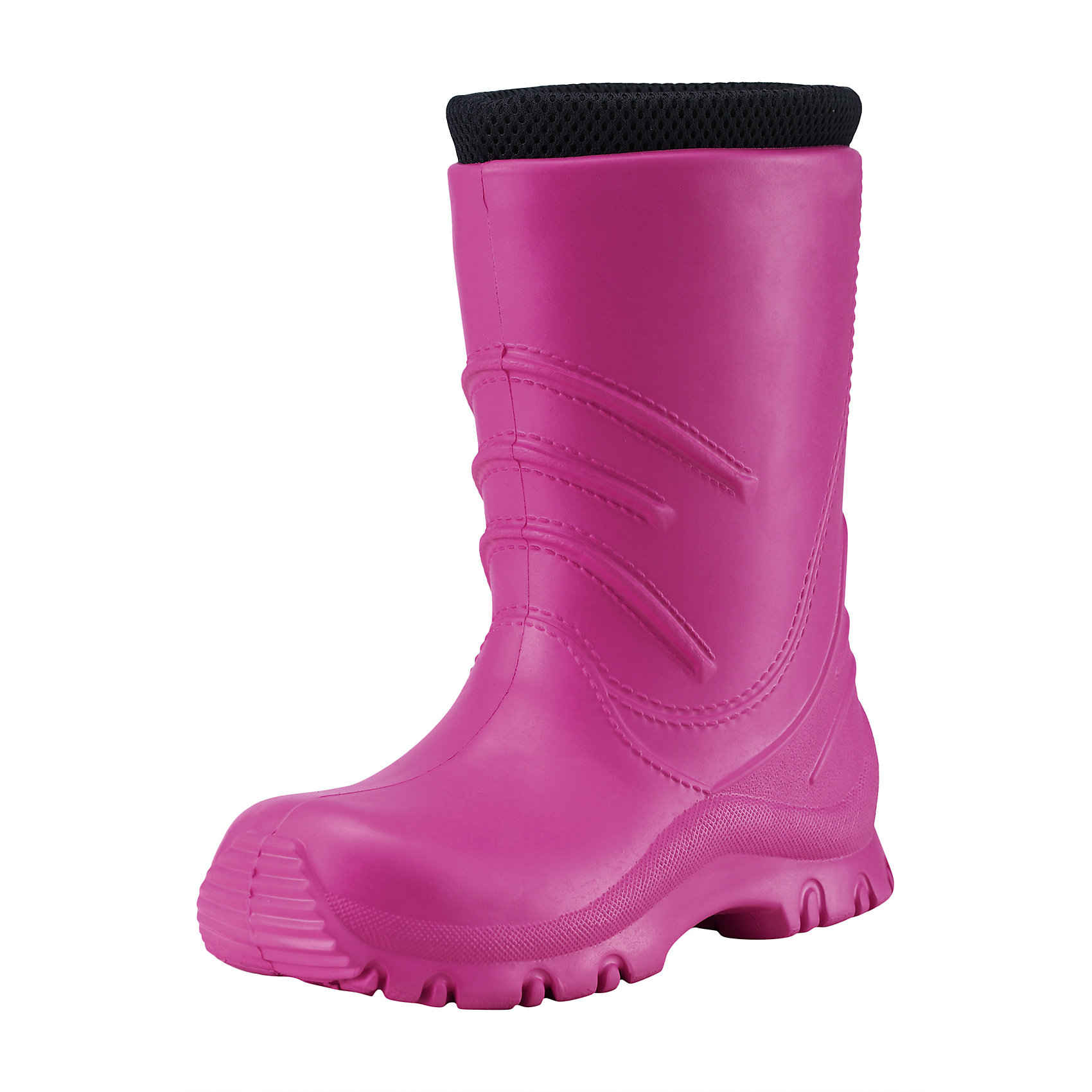 Резиновые сапоги Frillo Rainboot ReimaОбувь<br>Характеристики товара:<br><br>• цвет: розовый<br>• внешний материал: ЭВА<br>• внутренний материал: текстиль<br>• стелька: текстиль<br>• подошва: ЭВА<br>• температурный режим: от +5°до +20°С<br>• водонепроницаемая мембрана свыше 12000 мм<br>• водонепроницаемый материал<br>• съёмный внутренний сапожок<br>• можно носить как с сапожком так и без него<br>• очень лёгкие<br>• хорошее сцепление с поверхностью<br>• страна бренда: Финляндия<br>• страна производства: Китай<br><br>Детская обувь может быть модной и комфортной одновременно! Удобные стильные сапоги-веллингтоны помогут обеспечить ребенку комфорт во время непогоды и межсезонья. Они отлично смотрятся с различной одеждой. Сапоги очень легкие, удобно сидят на ноге и аккуратно смотрятся. Легко чистятся и долго служат. Продуманная конструкция разрабатывалась специально для детей.<br><br>Сапоги от финского бренда Reima (Рейма) можно купить в нашем интернет-магазине.<br><br>Ширина мм: 237<br>Глубина мм: 180<br>Высота мм: 152<br>Вес г: 438<br>Цвет: розовый<br>Возраст от месяцев: 72<br>Возраст до месяцев: 84<br>Пол: Женский<br>Возраст: Детский<br>Размер: 30,28,34,32,22,24,26<br>SKU: 5266782