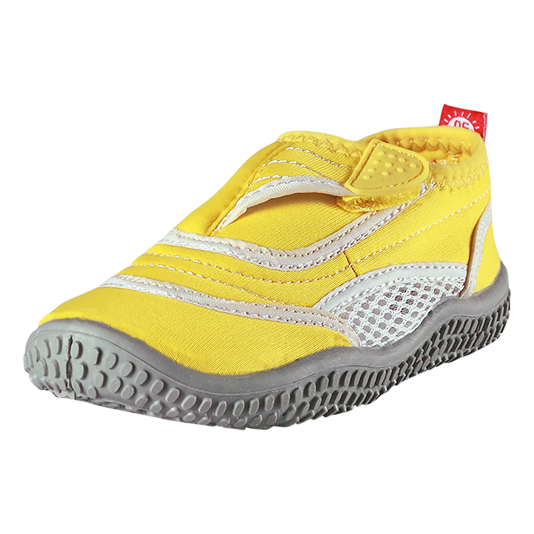 Коралловые тапочки Aqua для плавания ReimaОбувь<br>Характеристики товара:<br><br>• цвет: желтый<br>• состав: верх - ПЭ, подошва - термопластичная резина<br>• застежка: липучка<br>• устойчивая легкая подошва ЭВА<br>• модель из солнцезащитного материала SunProof<br>• съемные стельки с рисунком Happy Fit, помогающие определить размер<br>• фактор защиты от ультрафиолета: 50+<br>• хорошее сцепление с поверхностью<br>• можно стирать в машине при температуре 30 °C<br>• страна производства: Китай<br>• страна бренда: Финляндия<br>• коллекция: весна-лето 2017<br><br>Детская обувь может быть модной и комфортной одновременно! Удобные стильные сандали для плавания помогут обеспечить ребенку комфорт и дополнить наряд. Они отлично смотрятся с различной одеждой. Сандали для плавания удобно сидят на ноге и аккуратно смотрятся. Легко чистятся и долго служат. Продуманная конструкция разрабатывалась специально для детей.<br><br>Одежда и обувь от финского бренда Reima пользуется популярностью во многих странах. Эти изделия стильные, качественные и удобные. Для производства продукции используются только безопасные, проверенные материалы и фурнитура. Порадуйте ребенка модными и красивыми вещами от Reima! <br><br>Сандали для плавания от финского бренда Reima (Рейма) можно купить в нашем интернет-магазине.<br><br>Ширина мм: 227<br>Глубина мм: 145<br>Высота мм: 124<br>Вес г: 325<br>Цвет: желтый<br>Возраст от месяцев: 96<br>Возраст до месяцев: 108<br>Пол: Унисекс<br>Возраст: Детский<br>Размер: 32,34,33,28,25,30,31,27,35,24,38,29,36,37,26<br>SKU: 5266981
