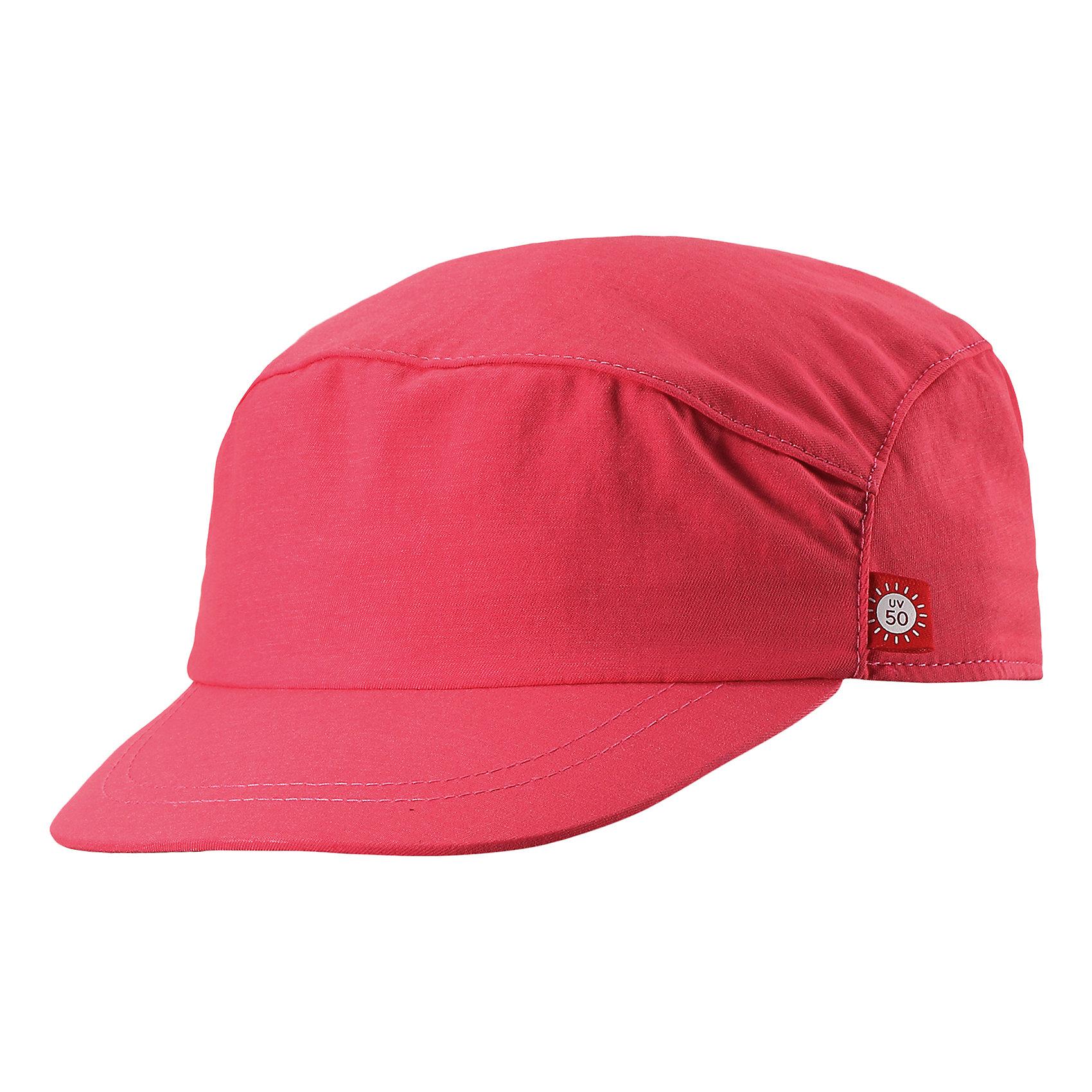 Кепка Virta для девчоки ReimaШапки и шарфы<br>Характеристики товара:<br><br>• цвет: розовый<br>• состав: 92% полиамид, 8% полиэстер<br>• фактор защиты от ультрафиолета: 50+<br>• дышащий материал с охлаждающим эффектом<br>• ширина обхвата регулируется эластичной резинкой сзади<br>• стильный защитный козырек<br>• облегченная модель без подкладки<br>• декоративный логотип<br>• комфортная посадка<br>• страна производства: Китай<br>• страна бренда: Финляндия<br>• коллекция: весна-лето 2017<br><br>Детский головной убор может быть модным и удобным одновременно! Стильная кепка поможет обеспечить ребенку комфорт и дополнить наряд. Она отлично смотрится с различной одеждой. Кепка удобно сидит и аккуратно выглядит. Проста в уходе, долго служит. Стильный дизайн разрабатывался специально для детей. Отличная защита от солнца!<br><br>Одежда и обувь от финского бренда Reima пользуется популярностью во многих странах. Эти изделия стильные, качественные и удобные. Для производства продукции используются только безопасные, проверенные материалы и фурнитура. Порадуйте ребенка модными и красивыми вещами от Reima! <br><br>Кепку для мальчика от финского бренда Reima (Рейма) можно купить в нашем интернет-магазине.<br><br>Ширина мм: 89<br>Глубина мм: 117<br>Высота мм: 44<br>Вес г: 155<br>Цвет: розовый<br>Возраст от месяцев: 84<br>Возраст до месяцев: 144<br>Пол: Женский<br>Возраст: Детский<br>Размер: 56,48,50,52,54<br>SKU: 5267730