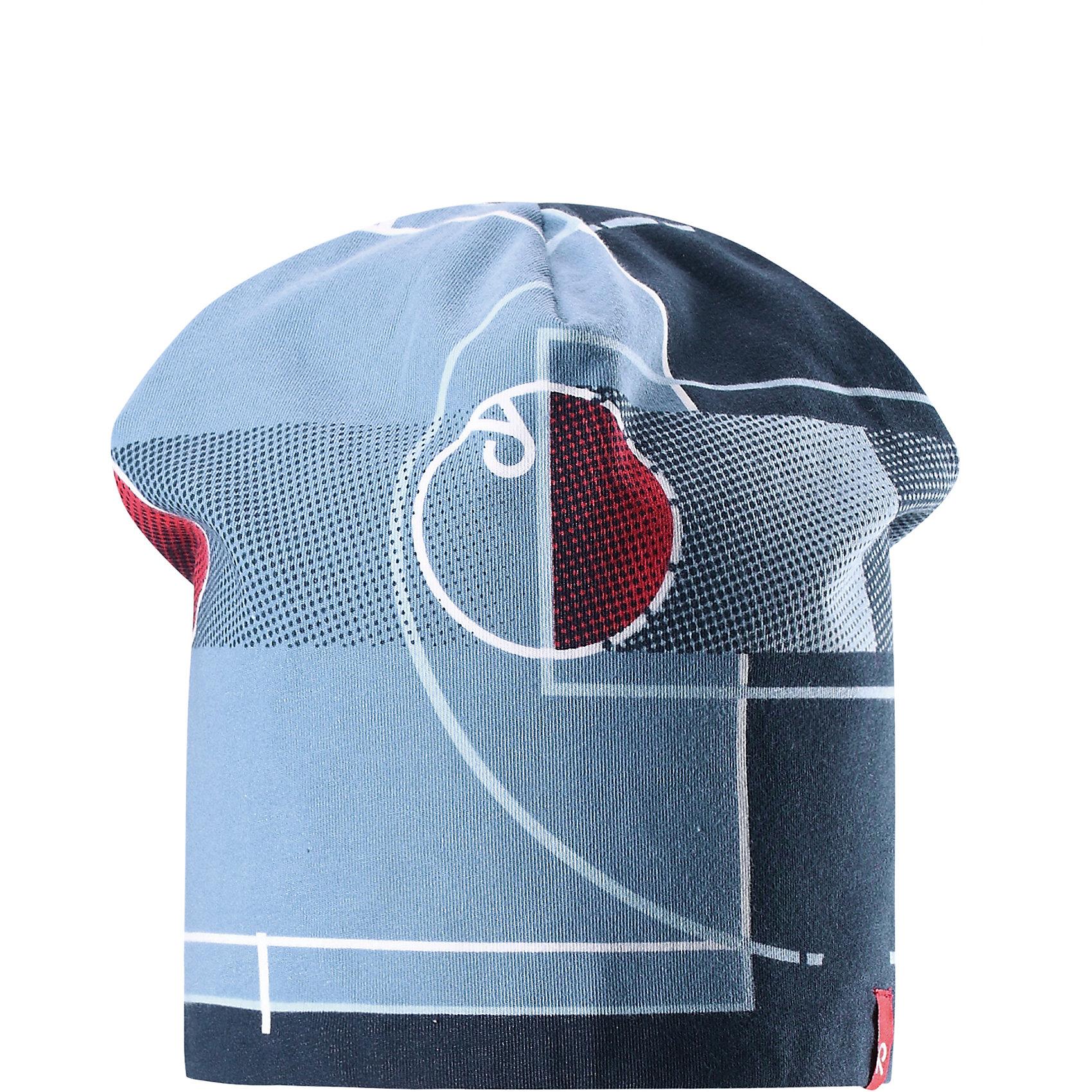 Шапка Frappe ReimaХарактеристики товара:<br><br>• цвет: голубой/синий<br>• быстросохнущий материал<br>• состав: 65% хлопок, 30% полиэстер, 5% эластан<br>• температурный режим: от +5°до +15°С<br>• эластичный материал<br>• сплошная подкладка: влаговыводящий трикотаж<br>• двухсторонняя<br>• отводящий влагу материал Play Jersey<br>• декоративный логотип<br>• фактор защиты от ультрафиолета: 40+<br>• комфортная посадка<br>• страна производства: Китай<br>• страна бренда: Финляндия<br>• коллекция: весна-лето 2017<br><br>Детский головной убор может быть модным и удобным одновременно! Стильная шапка поможет обеспечить ребенку комфорт и дополнить наряд. Она отлично смотрится с различной одеждой. Шапка удобно сидит и аккуратно выглядит. Проста в уходе, долго служит. Стильный дизайн разрабатывался специально для детей. Отличная защита от солнца!<br><br>Одежда и обувь от финского бренда Reima пользуется популярностью во многих странах. Эти изделия стильные, качественные и удобные. Для производства продукции используются только безопасные, проверенные материалы и фурнитура. Порадуйте ребенка модными и красивыми вещами от Reima! <br><br>Шапку для мальчика от финского бренда Reima (Рейма) можно купить в нашем интернет-магазине.<br><br>Ширина мм: 89<br>Глубина мм: 117<br>Высота мм: 44<br>Вес г: 155<br>Цвет: синий<br>Возраст от месяцев: 48<br>Возраст до месяцев: 84<br>Пол: Унисекс<br>Возраст: Детский<br>Размер: 54,50<br>SKU: 5267907