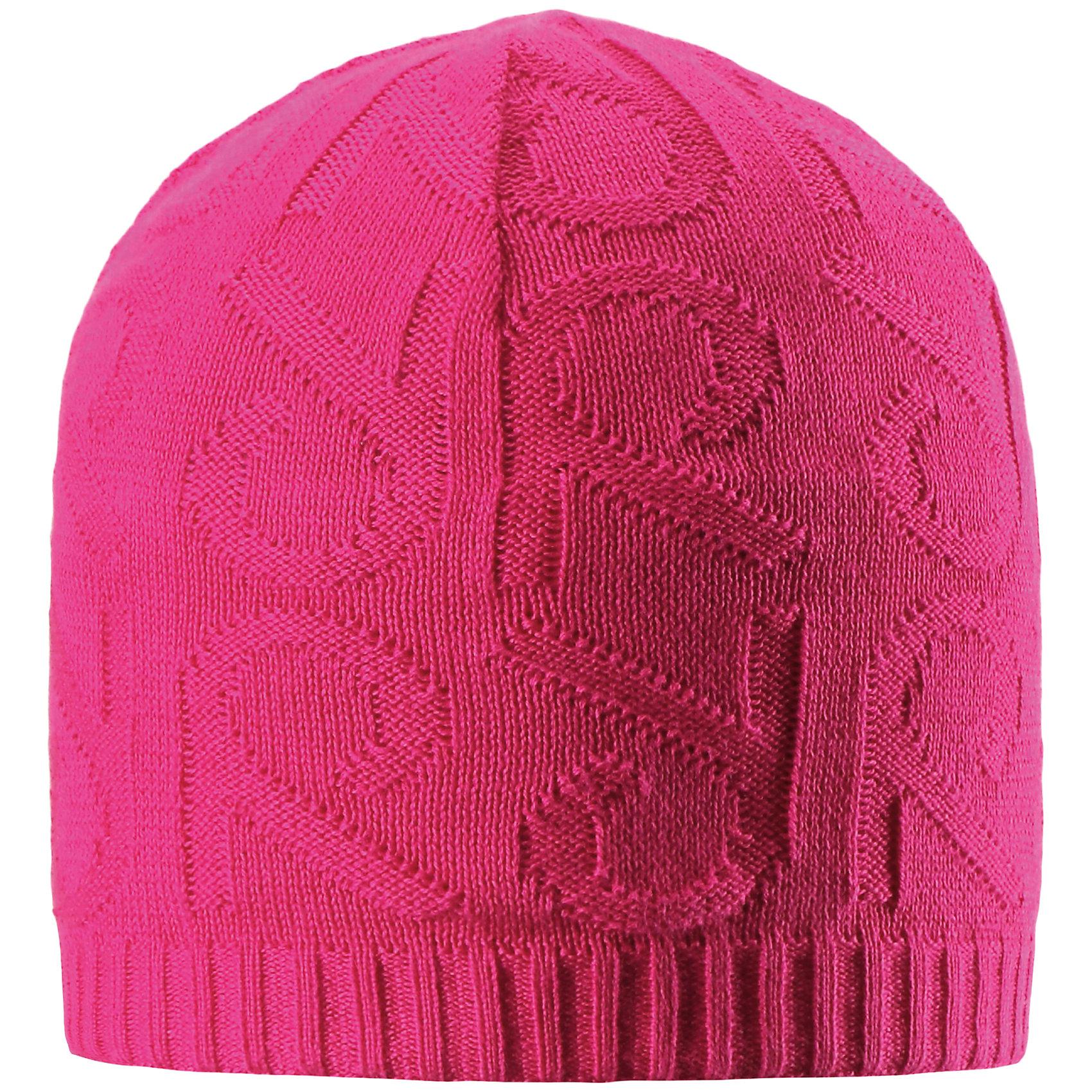 Шапка Ankkuri для девочки ReimaШапки и шарфы<br>Характеристики товара:<br><br>• цвет: фуксия<br>• состав: 100% хлопок<br>• температурный режим: от +7С<br>• эластичный хлопковый трикотаж<br>• изделие сертифицированно по стандарту Oeko-Tex на продукцию класса 2 - одежда, контактирующая с кожей<br>• ветронепроницаемые вставки в области ушей<br>• полуподкладка: хлопковый трикотаж<br>• эмблема Reima сзади<br>• декортивная структурная вязка<br>• светоотражающая эмблема сзади<br>• страна бренда: Финляндия<br>• страна производства: Китай<br><br>Детский головной убор может быть модным и удобным одновременно! Стильная шапка поможет обеспечить ребенку комфорт и дополнить наряд.Шапка удобно сидит и аккуратно выглядит. Проста в уходе, долго служит. Стильный дизайн разрабатывался специально для детей. Отличная защита от дождя и ветра!<br><br>Уход:<br><br>• стирать по отдельности, вывернув наизнанку<br>• придать первоначальную форму вo влажном виде<br>• возможна усадка 5 %.<br><br>Шапку от финского бренда Reima (Рейма) можно купить в нашем интернет-магазине.<br><br>Ширина мм: 89<br>Глубина мм: 117<br>Высота мм: 44<br>Вес г: 155<br>Цвет: розовый<br>Возраст от месяцев: 18<br>Возраст до месяцев: 36<br>Пол: Женский<br>Возраст: Детский<br>Размер: 50,52,56,54<br>SKU: 5267945