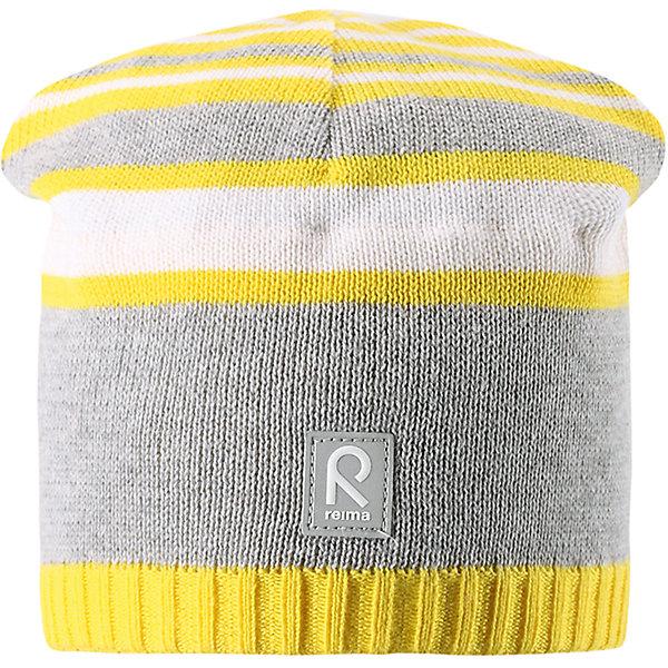 Шапка Datoline ReimaШапки и шарфы<br>Характеристики товара:<br><br>• цвет: серый/жёлтый<br>• состав: 100% хлопок<br>• температурный режим: от +7С<br>• эластичный хлопковый трикотаж<br>• изделие сертифицированно по стандарту Oeko-Tex на продукцию класса 2 - одежда, контактирующая с кожей<br>• ветронепроницаемые вставки в области ушей<br>• полуподкладка: хлопковый трикотаж<br>• эмблема Reima спереди<br>• светоотражающая эмблема спереди<br>• страна бренда: Финляндия<br>• страна производства: Китай<br><br>Детский головной убор может быть модным и удобным одновременно! Стильная шапка поможет обеспечить ребенку комфорт и дополнить наряд.Шапка удобно сидит и аккуратно выглядит. Проста в уходе, долго служит. Стильный дизайн разрабатывался специально для детей. Отличная защита от дождя и ветра!<br><br>Уход:<br><br>• стирать по отдельности, вывернув наизнанку<br>• придать первоначальную форму вo влажном виде<br>• возможна усадка 5 %.<br><br>Шапку от финского бренда Reima (Рейма) можно купить в нашем интернет-магазине.<br><br>Ширина мм: 89<br>Глубина мм: 117<br>Высота мм: 44<br>Вес г: 155<br>Цвет: желтый<br>Возраст от месяцев: 24<br>Возраст до месяцев: 60<br>Пол: Унисекс<br>Возраст: Детский<br>Размер: 52,56,50,54<br>SKU: 5267980