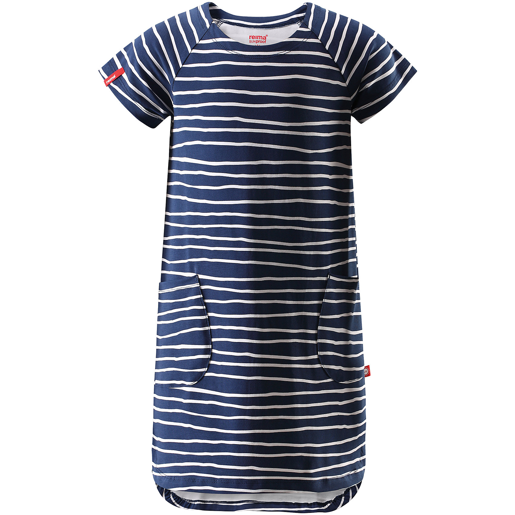 Платье для девочки ReimaОдежда<br>Характеристики товара:<br><br>• цвет: тёмно-синий<br>• состав: 95% хлопок, 5% эластан<br>• удобный эластичный материал<br>• трапециевидный силуэт<br>• два накладных кармана<br>• страна бренда: Финляндия<br>• страна производства: Китай<br><br>Одежда может быть модной и комфортной одновременно! Удобное симпатичное платье поможет обеспечить ребенку комфорт - оно не стесняет движения и удобно сидит. Стильный дизайн разрабатывался специально для детей.<br><br>Уход:<br><br>• стирать и гладить, вывернув наизнанку<br>• стирать с бельем одинакового цвета<br>• стирать моющим средством, не содержащим отбеливающие вещества<br>• полоскать без специального средства<br>• придать первоначальную форму вo влажном виде.<br><br>Платье для девочки от финского бренда Reima (Рейма) можно купить в нашем интернет-магазине.<br><br>Ширина мм: 236<br>Глубина мм: 16<br>Высота мм: 184<br>Вес г: 177<br>Цвет: синий<br>Возраст от месяцев: 108<br>Возраст до месяцев: 120<br>Пол: Женский<br>Возраст: Детский<br>Размер: 140,122,116,110,128,104,134<br>SKU: 5268166