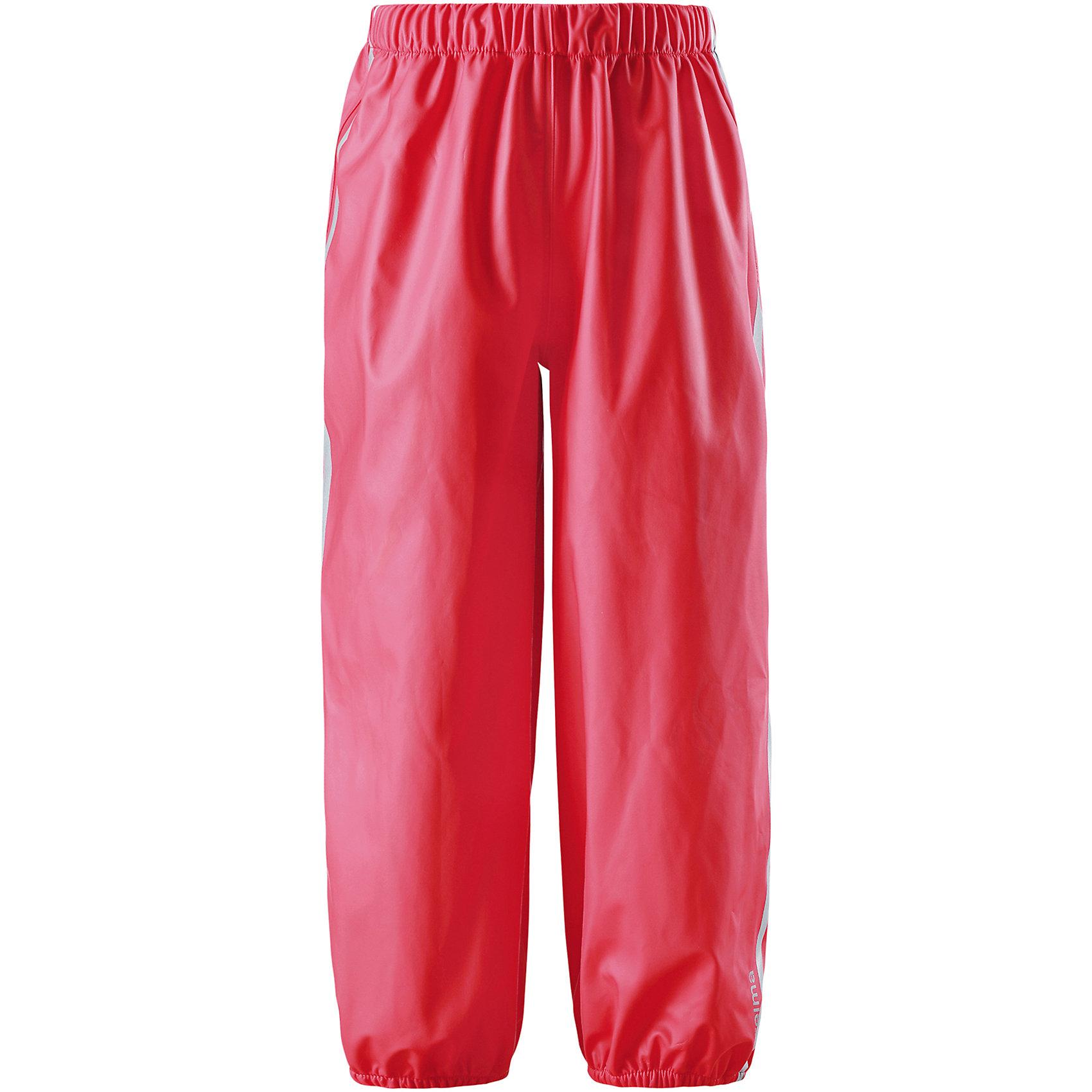 Непромокаемые брюки Oja для девочки  ReimaХарактеристики товара:<br><br>• цвет: красный<br>• состав: 100% полиэстер, полиуретановое покрытие<br>• температурный режим: от +10°до +20°С<br>• водонепроницаемость: 10000 мм<br>• без утеплителя<br>• эластичный материал<br>• водонепроницаемый материал с запаянными швами<br>• не содержит ПВХ<br>• эластичная талия<br>• эластичные манжеты на брючинах<br>• комфортная посадка<br>• съемные штрипки в размерах от 104 до 128 см<br>• светоотражающие детали<br>• страна производства: Китай<br>• страна бренда: Финляндия<br>• коллекция: весна-лето 2017<br><br>Демисезонные брюки помогут обеспечить ребенку комфорт и тепло. Они отлично смотрятся с различным верхом. Изделие удобно сидит и модно выглядит. Материал отлично подходит для дождливой погоды. Стильный дизайн разрабатывался специально для детей.<br><br>Обувь и одежда от финского бренда Reima пользуются популярностью во многих странах. Они стильные, качественные и удобные. Для производства продукции используются только безопасные, проверенные материалы и фурнитура. Порадуйте ребенка модными и красивыми вещами от Lassie®! <br><br>Брюки от финского бренда Reima (Рейма) можно купить в нашем интернет-магазине.<br><br>Ширина мм: 215<br>Глубина мм: 88<br>Высота мм: 191<br>Вес г: 336<br>Цвет: красный<br>Возраст от месяцев: 60<br>Возраст до месяцев: 72<br>Пол: Женский<br>Возраст: Детский<br>Размер: 116,122,128,134,140,104,110<br>SKU: 5268242