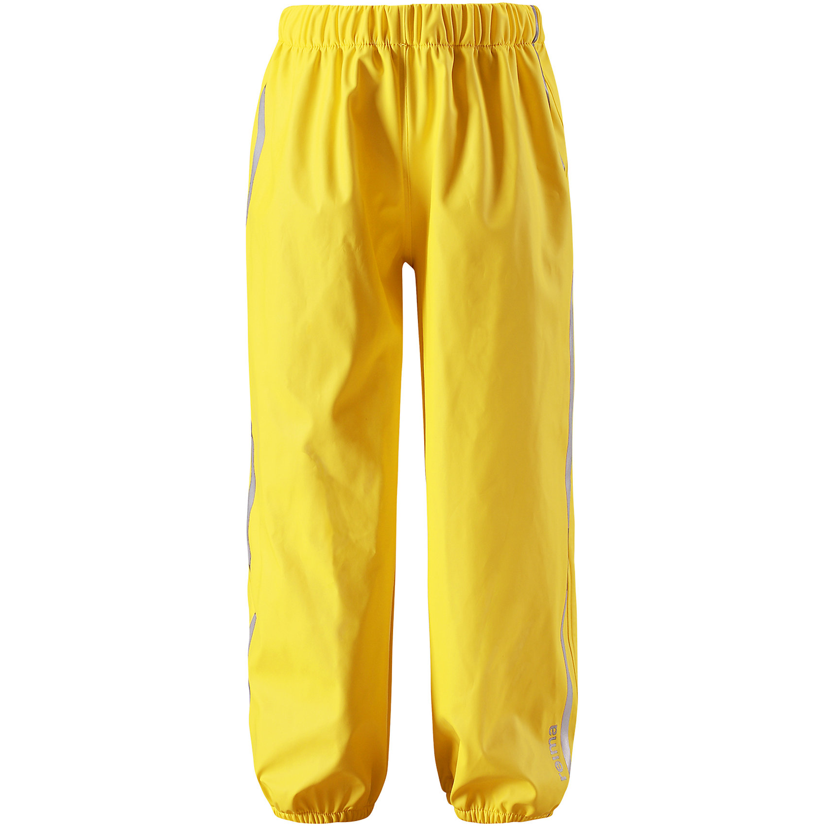 Непромокаемые брюки Oja ReimaОдежда<br>Характеристики товара:<br><br>• цвет: желтый<br>• состав: 100% полиэстер, полиуретановое покрытие<br>• температурный режим: от +10°до +20°С<br>• водонепроницаемость: 10000 мм<br>• без утеплителя<br>• эластичный материал<br>• водонепроницаемый материал с запаянными швами<br>• не содержит ПВХ<br>• эластичная талия<br>• эластичные манжеты на брючинах<br>• комфортная посадка<br>• съемные штрипки в размерах от 104 до 128 см<br>• светоотражающие детали<br>• страна производства: Китай<br>• страна бренда: Финляндия<br>• коллекция: весна-лето 2017<br><br>Демисезонные брюки помогут обеспечить ребенку комфорт и тепло. Они отлично смотрятся с различным верхом. Изделие удобно сидит и модно выглядит. Материал отлично подходит для дождливой погоды. Стильный дизайн разрабатывался специально для детей.<br><br>Обувь и одежда от финского бренда Reima пользуются популярностью во многих странах. Они стильные, качественные и удобные. Для производства продукции используются только безопасные, проверенные материалы и фурнитура. Порадуйте ребенка модными и красивыми вещами от Lassie®! <br><br>Брюки от финского бренда Reima (Рейма) можно купить в нашем интернет-магазине.<br><br>Ширина мм: 215<br>Глубина мм: 88<br>Высота мм: 191<br>Вес г: 336<br>Цвет: желтый<br>Возраст от месяцев: 108<br>Возраст до месяцев: 120<br>Пол: Унисекс<br>Возраст: Детский<br>Размер: 140,104,110,116,122,128,134<br>SKU: 5268250